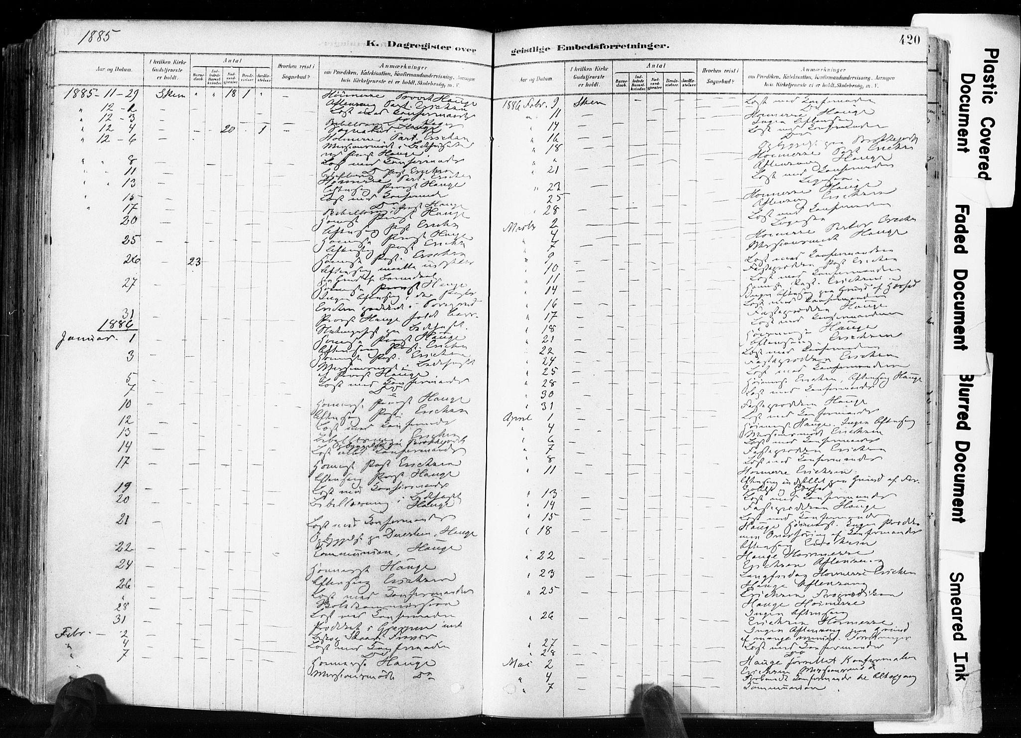 SAKO, Skien kirkebøker, F/Fa/L0009: Ministerialbok nr. 9, 1878-1890, s. 420