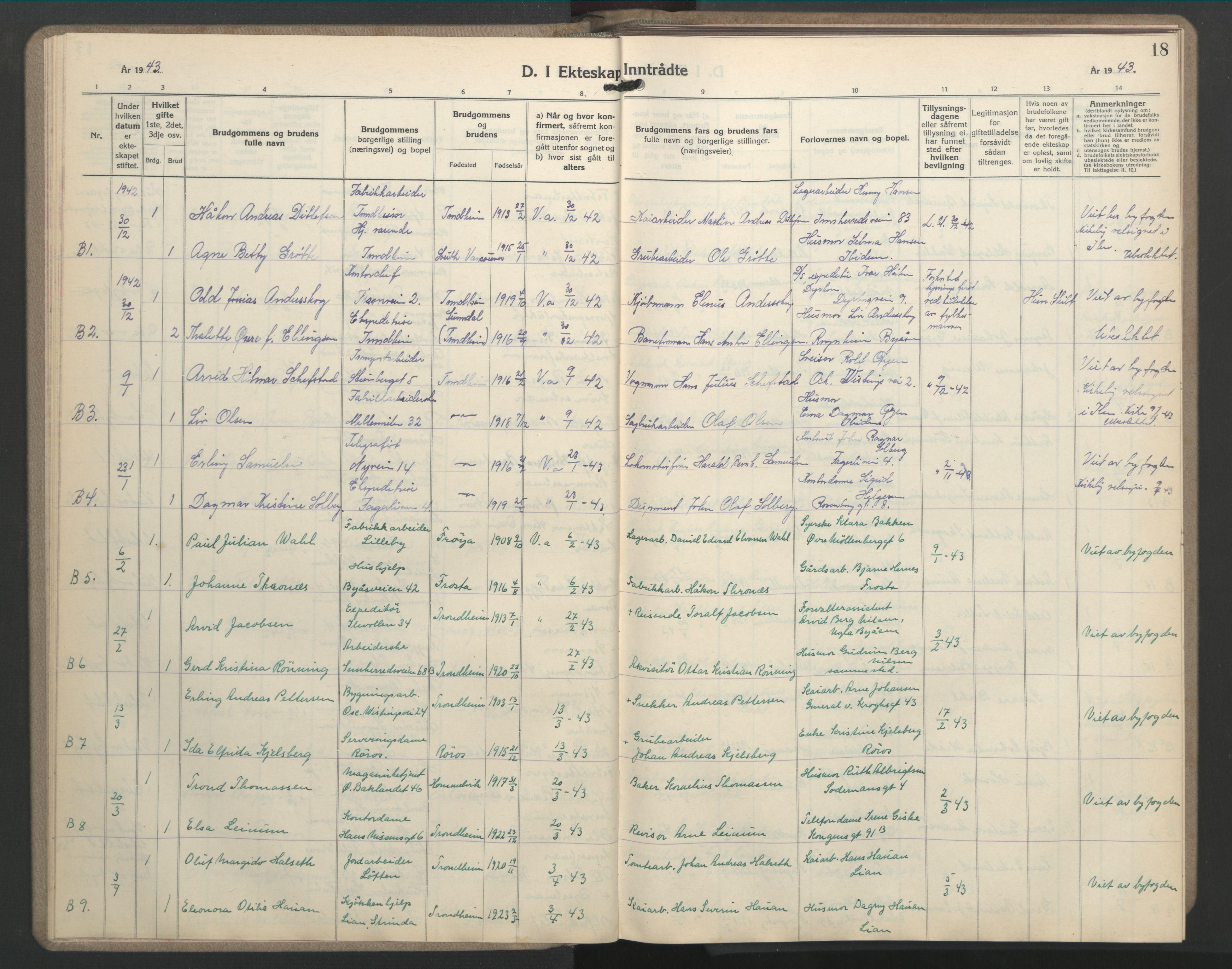 SAT, Ministerialprotokoller, klokkerbøker og fødselsregistre - Sør-Trøndelag, 603/L0177: Klokkerbok nr. 603C05, 1941-1952, s. 18