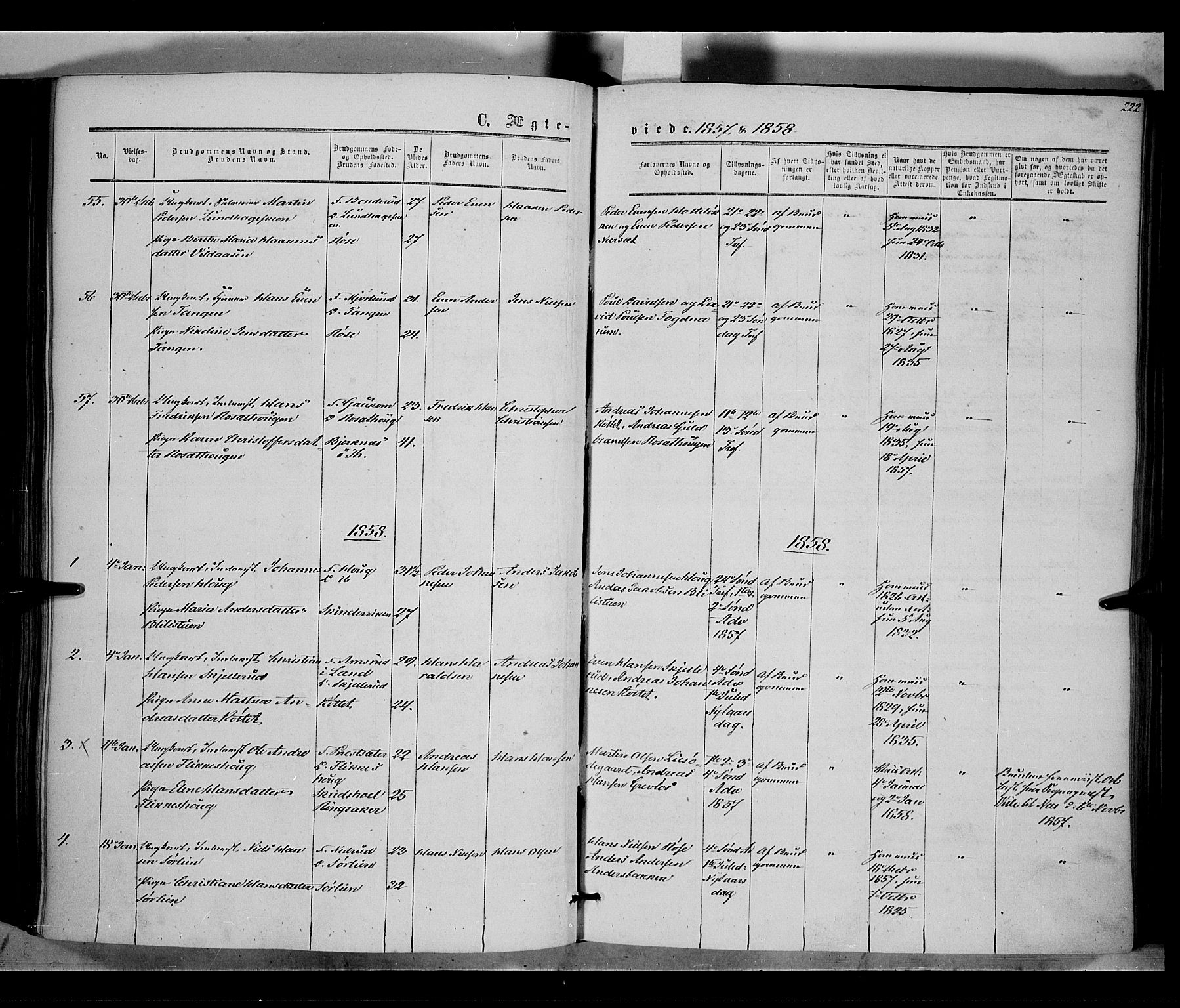 SAH, Vestre Toten prestekontor, Ministerialbok nr. 6, 1856-1861, s. 222