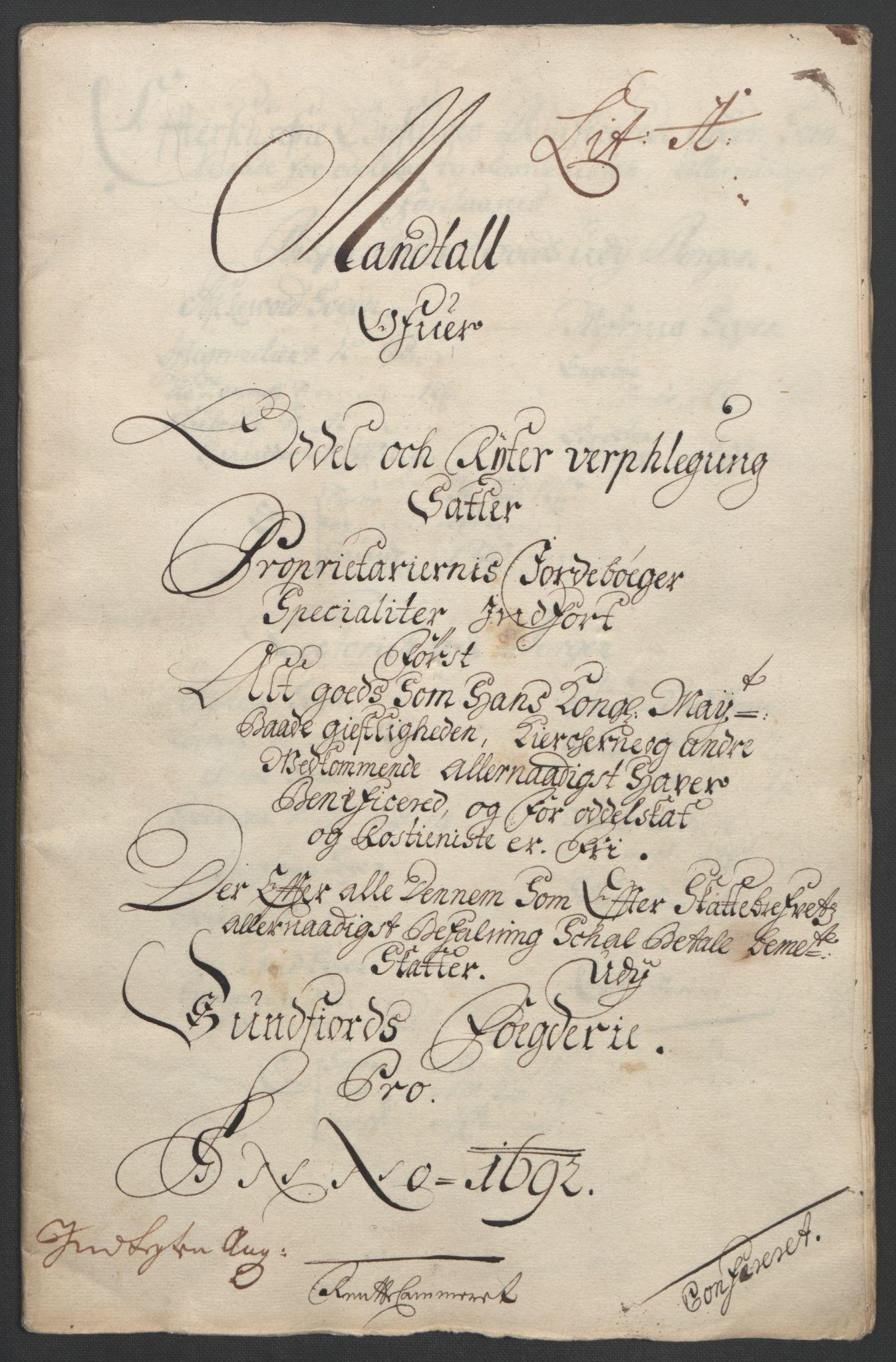 RA, Rentekammeret inntil 1814, Reviderte regnskaper, Fogderegnskap, R53/L3420: Fogderegnskap Sunn- og Nordfjord, 1691-1692, s. 178