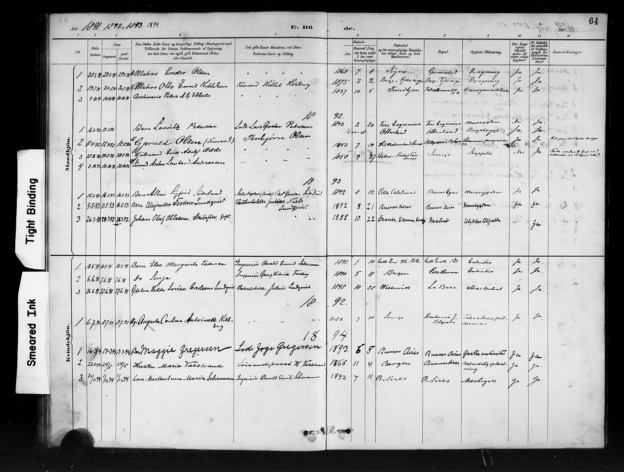 SAB, Den Norske Sjømannsmisjon i utlandet*, Ministerialbok nr. A 1, 1888-1898, s. 64