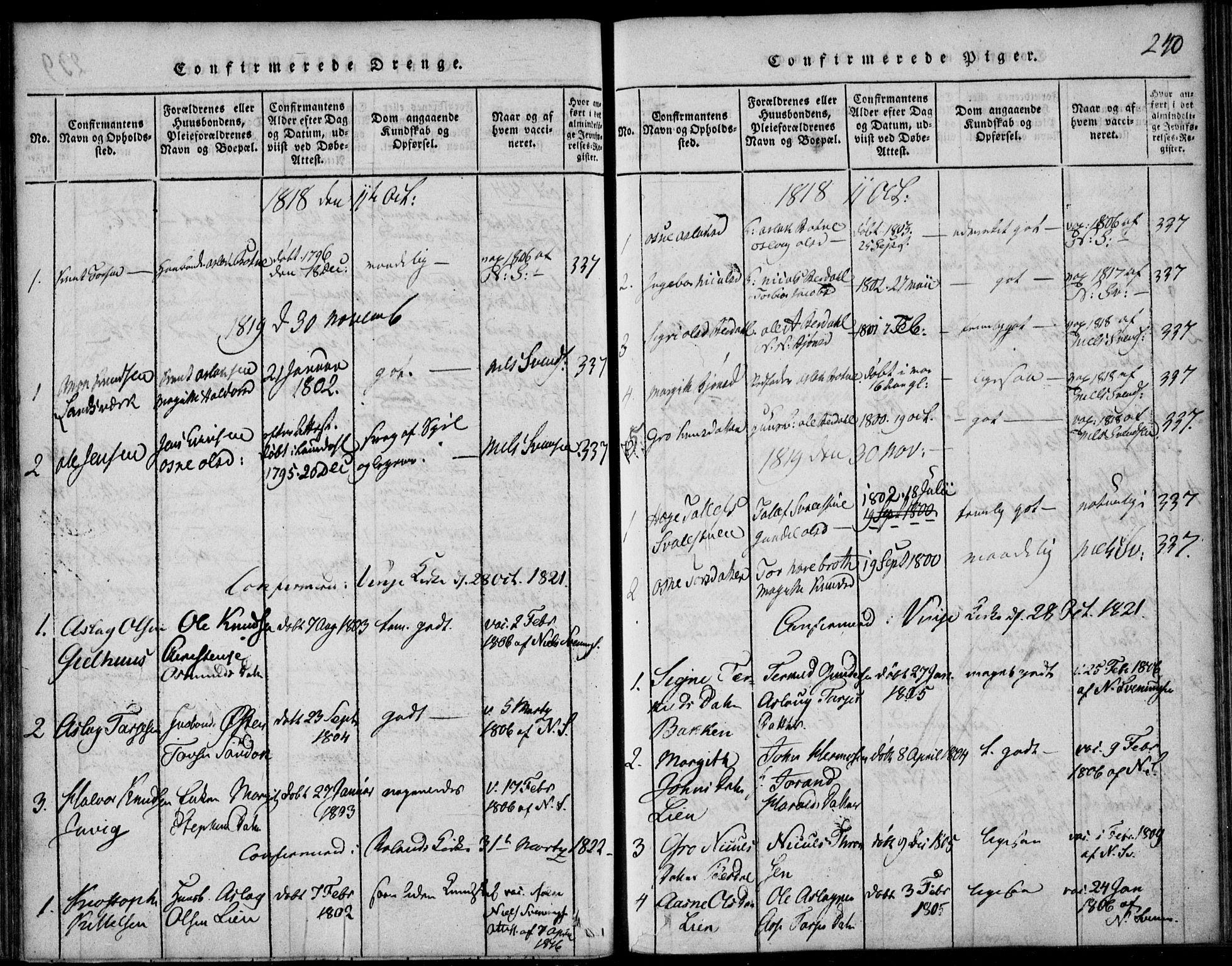 SAKO, Vinje kirkebøker, F/Fb/L0001: Ministerialbok nr. II 1, 1814-1843, s. 240