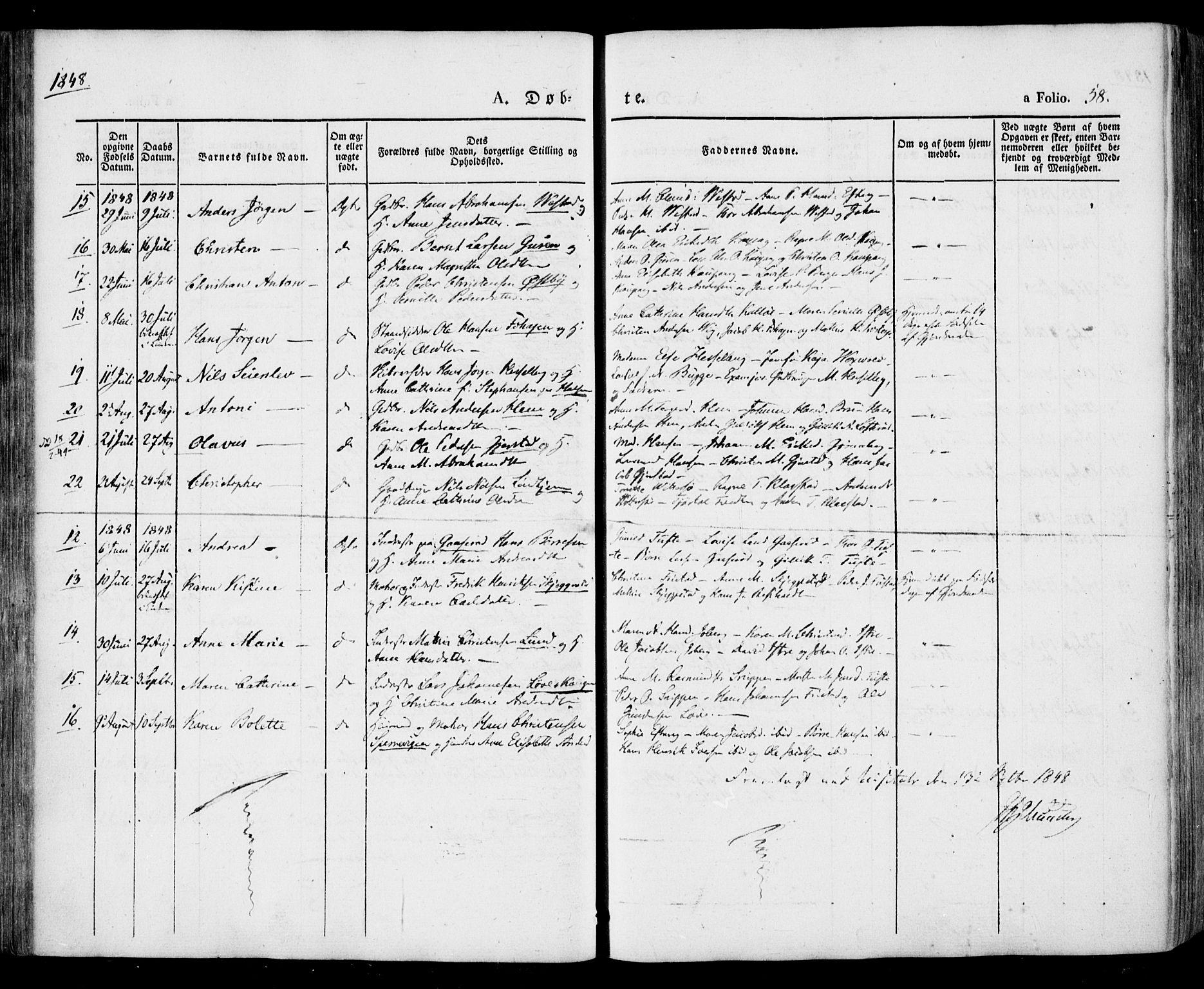 SAKO, Tjølling kirkebøker, F/Fa/L0006: Ministerialbok nr. 6, 1835-1859, s. 58