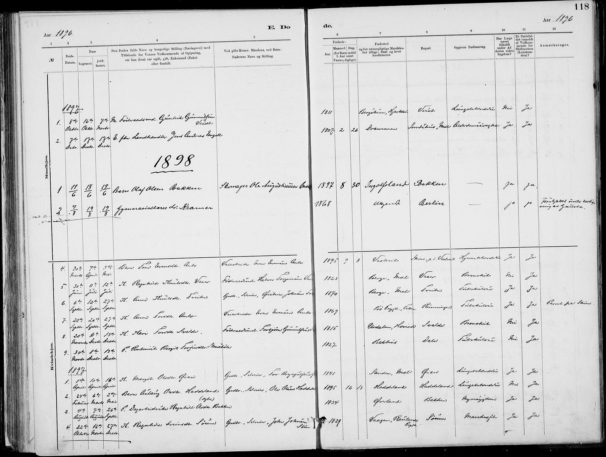 SAKO, Rjukan kirkebøker, F/Fa/L0001: Ministerialbok nr. 1, 1878-1912, s. 118