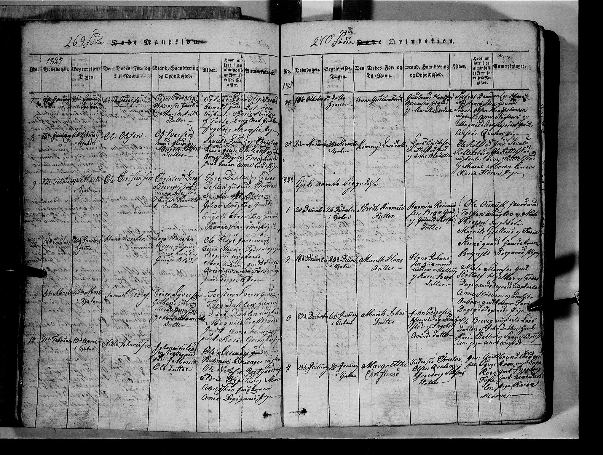 SAH, Lom prestekontor, L/L0003: Klokkerbok nr. 3, 1815-1844, s. 269-270