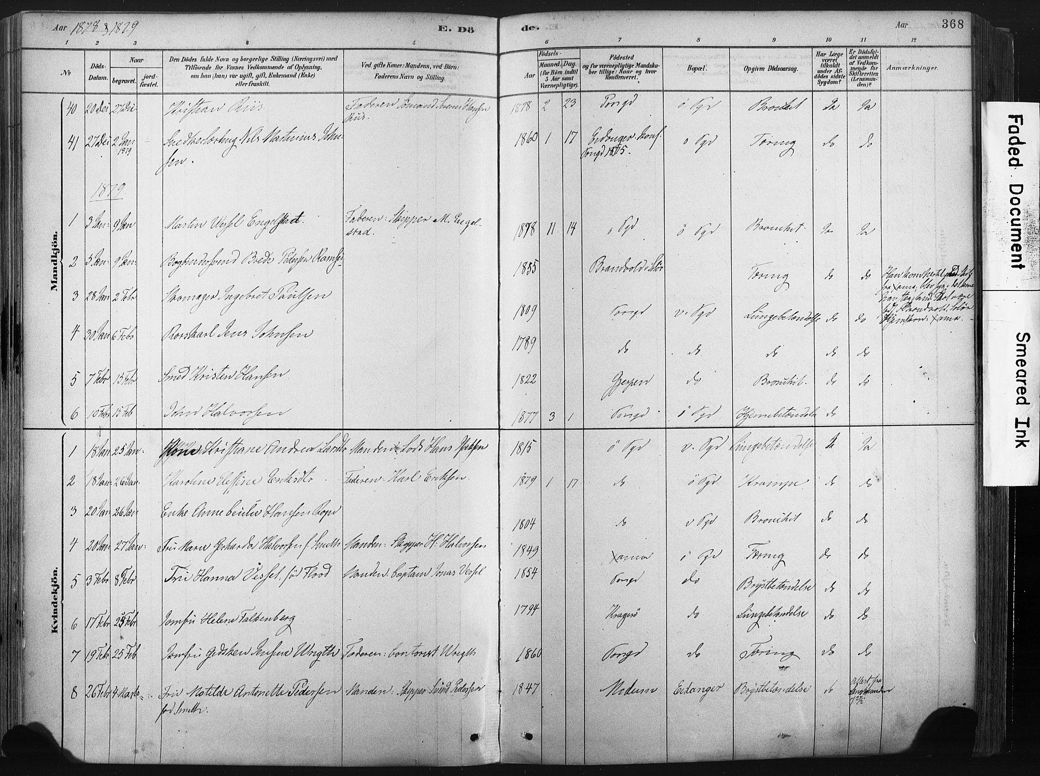 SAKO, Porsgrunn kirkebøker , F/Fa/L0008: Ministerialbok nr. 8, 1878-1895, s. 368