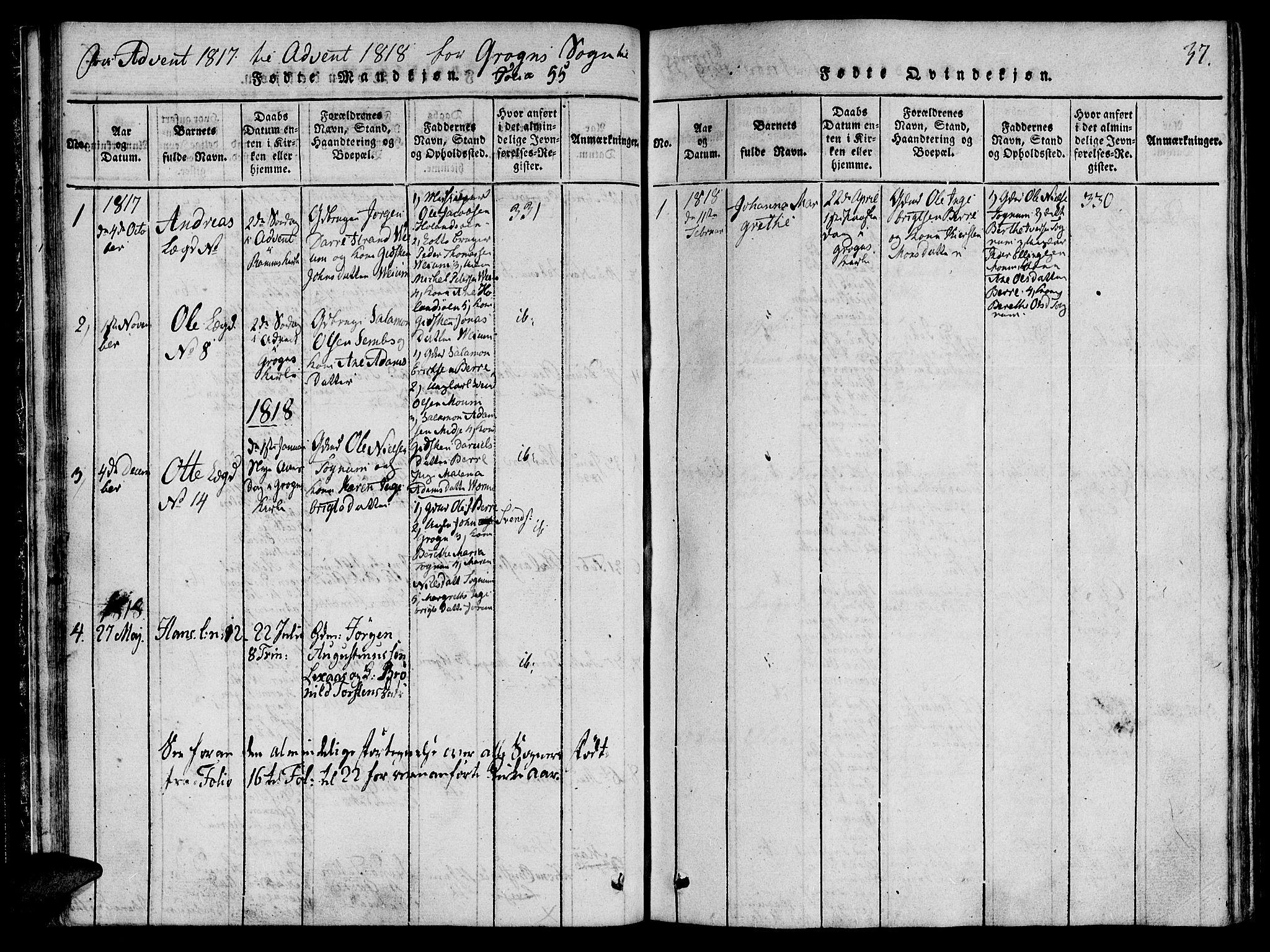 SAT, Ministerialprotokoller, klokkerbøker og fødselsregistre - Nord-Trøndelag, 764/L0546: Ministerialbok nr. 764A06 /2, 1817-1822, s. 37