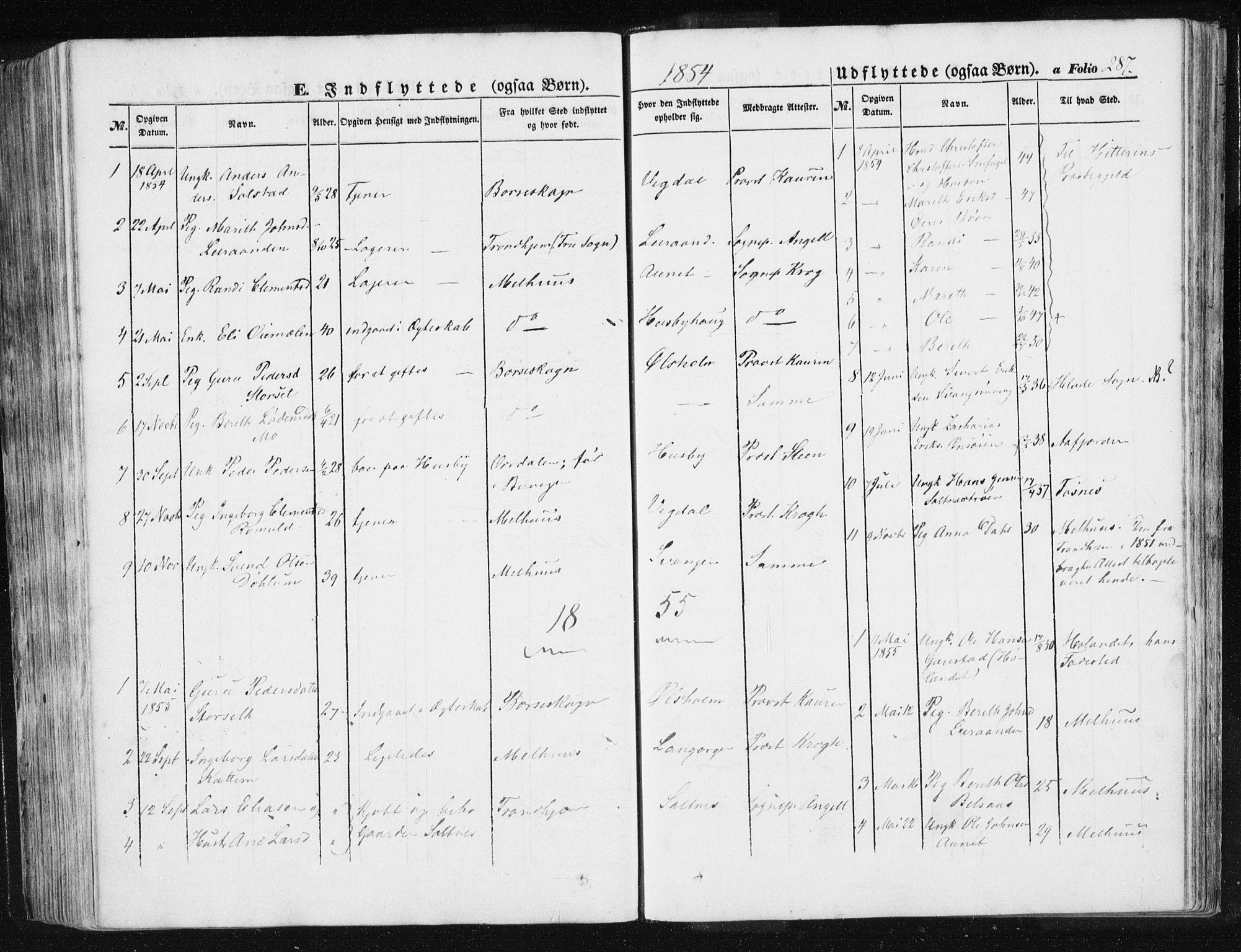 SAT, Ministerialprotokoller, klokkerbøker og fødselsregistre - Sør-Trøndelag, 612/L0376: Ministerialbok nr. 612A08, 1846-1859, s. 287
