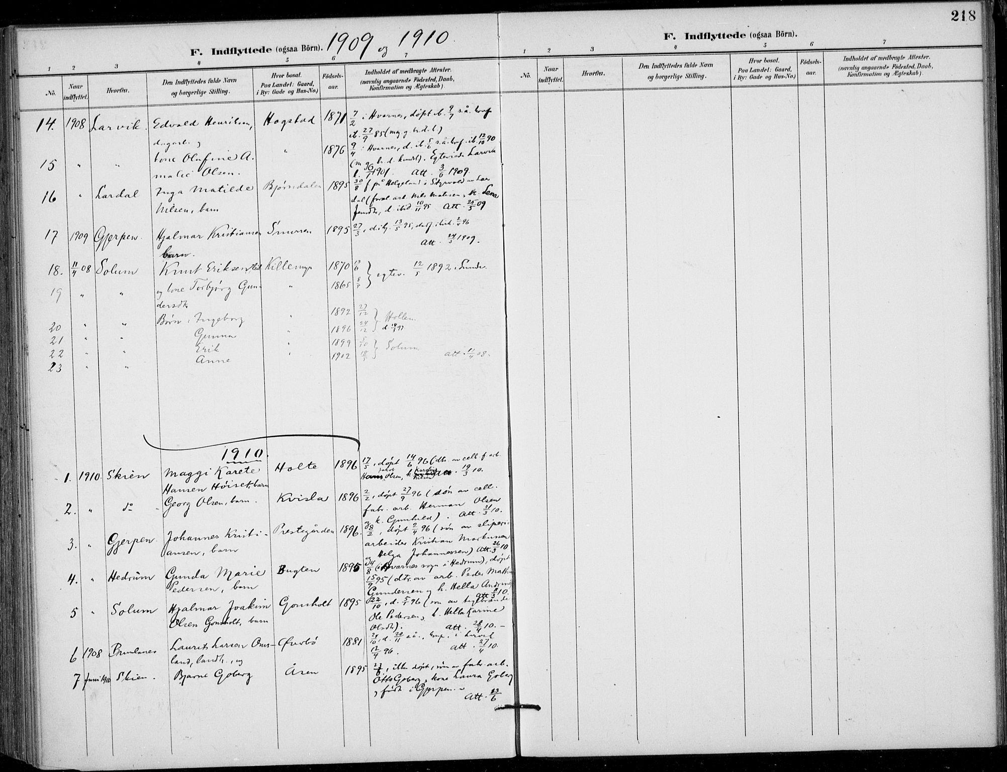 SAKO, Siljan kirkebøker, F/Fa/L0003: Ministerialbok nr. 3, 1896-1910, s. 218