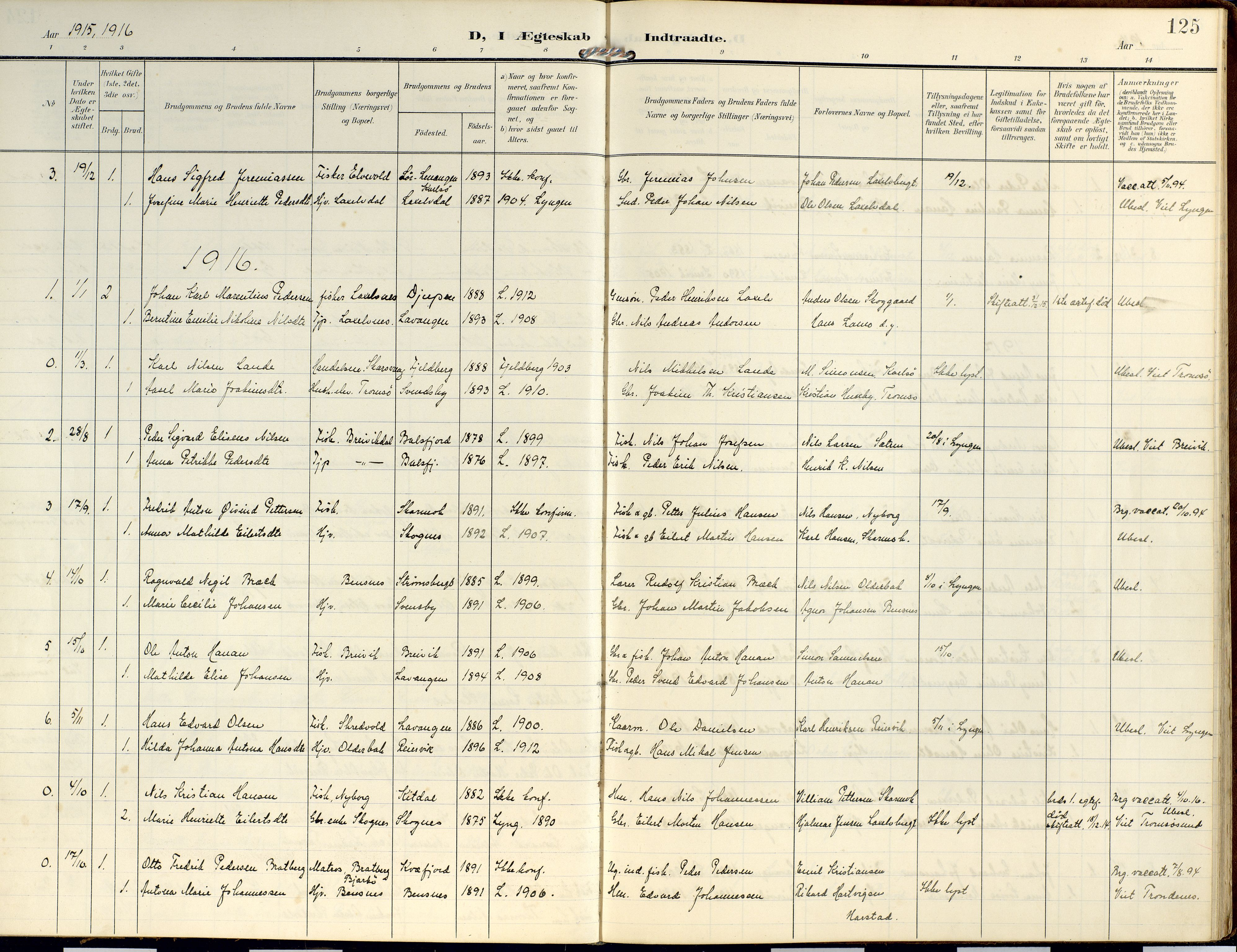 SATØ, Lyngen sokneprestembete, Ministerialbok nr. 14, 1905-1920, s. 125