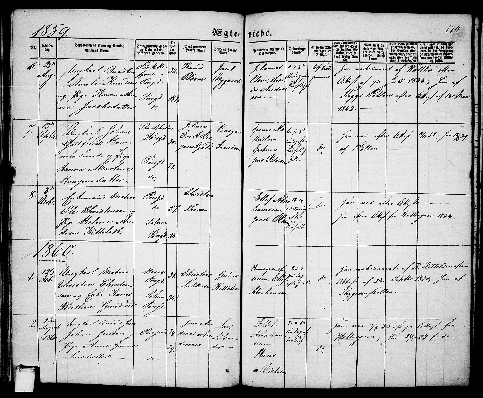 SAKO, Porsgrunn kirkebøker , G/Ga/L0002: Klokkerbok nr. I 2, 1847-1877, s. 170