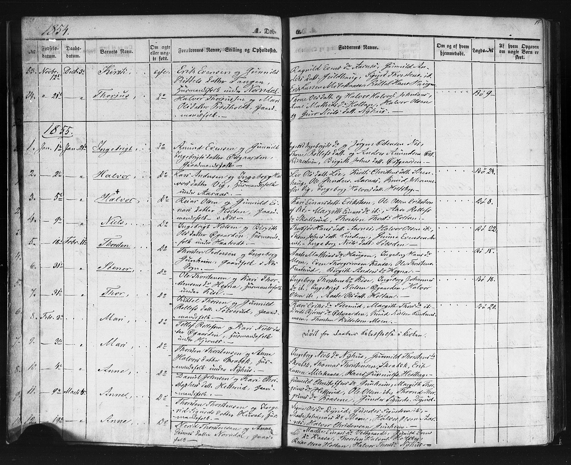 SAKO, Sauherad kirkebøker, F/Fb/L0001: Ministerialbok nr. II 1, 1851-1877, s. 14