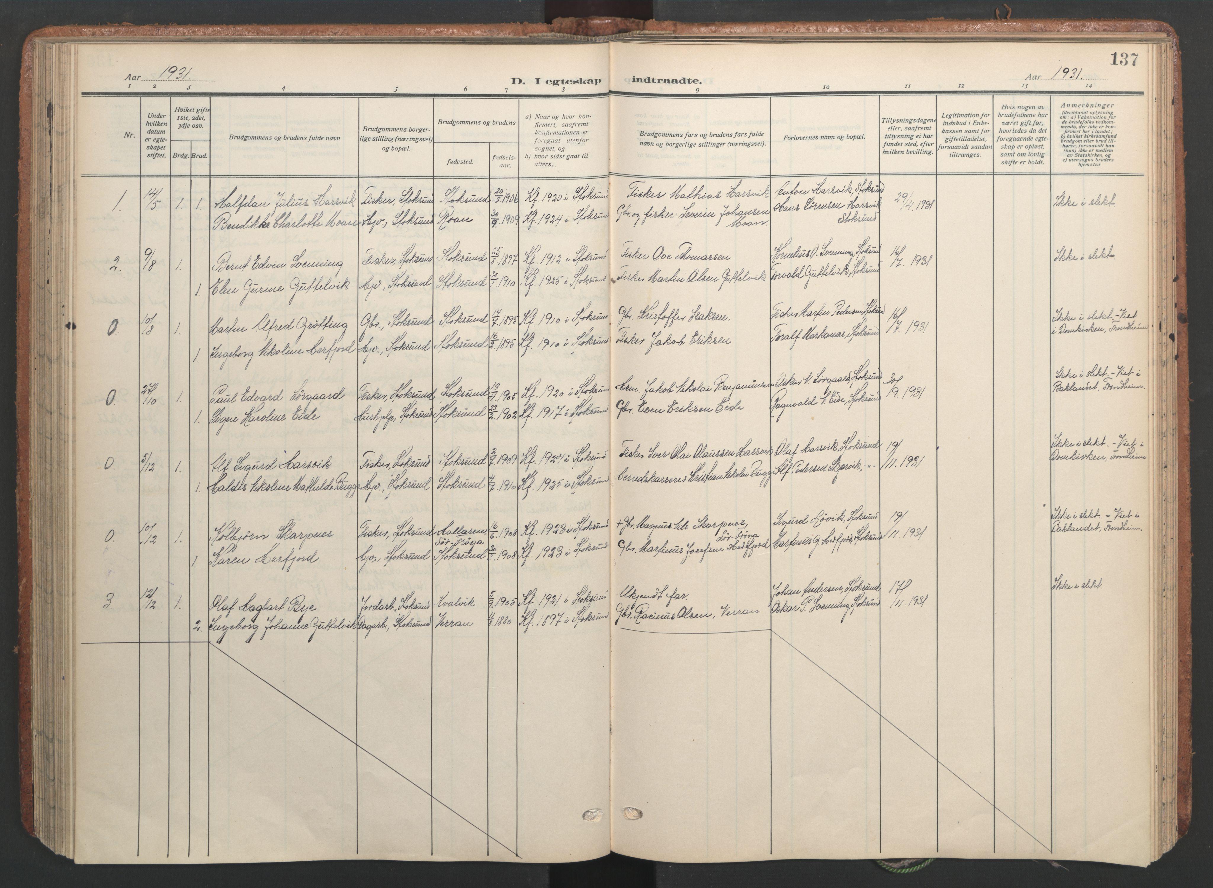 SAT, Ministerialprotokoller, klokkerbøker og fødselsregistre - Sør-Trøndelag, 656/L0694: Ministerialbok nr. 656A03, 1914-1931, s. 137