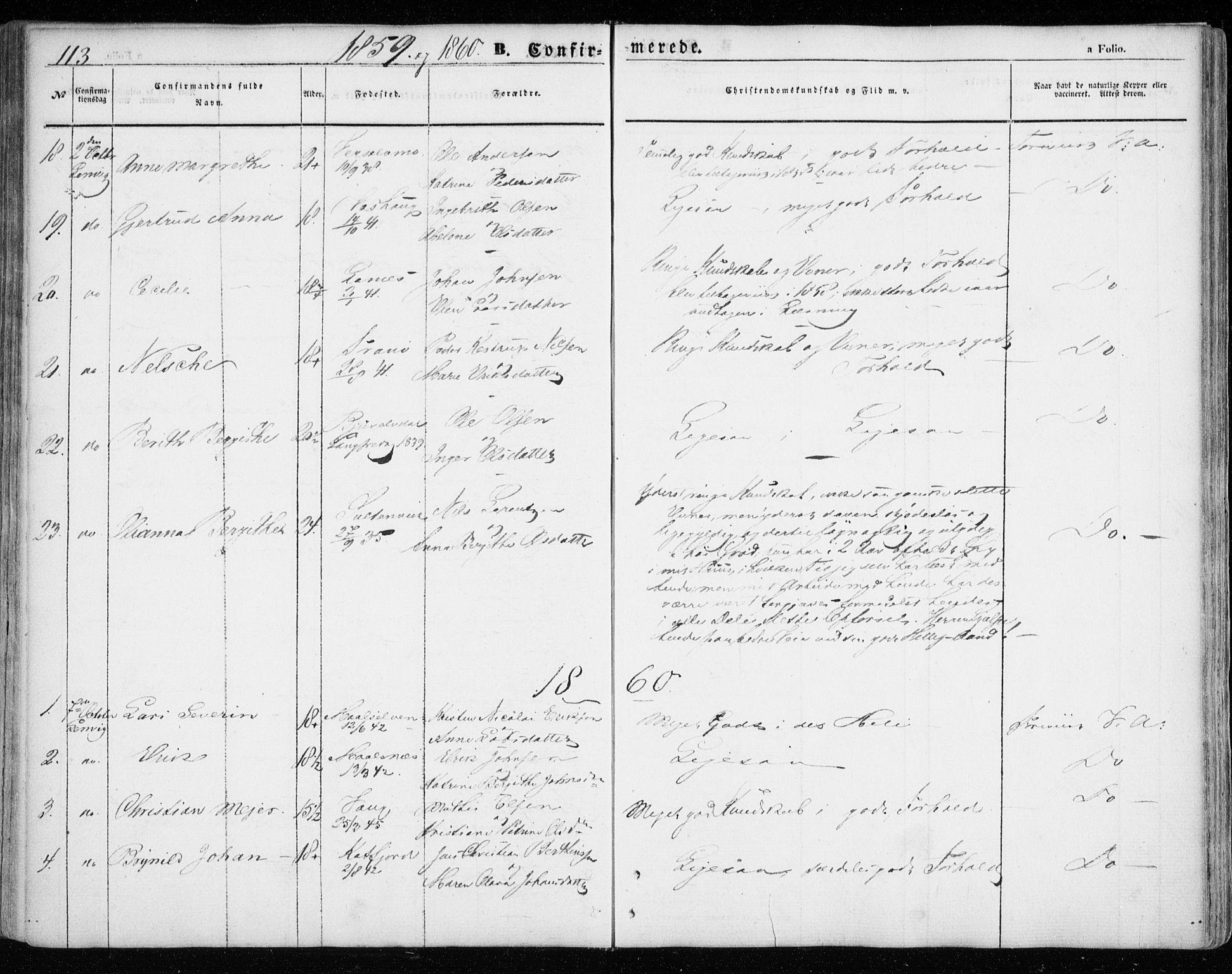 SATØ, Lenvik sokneprestembete, H/Ha: Ministerialbok nr. 7, 1855-1865, s. 113