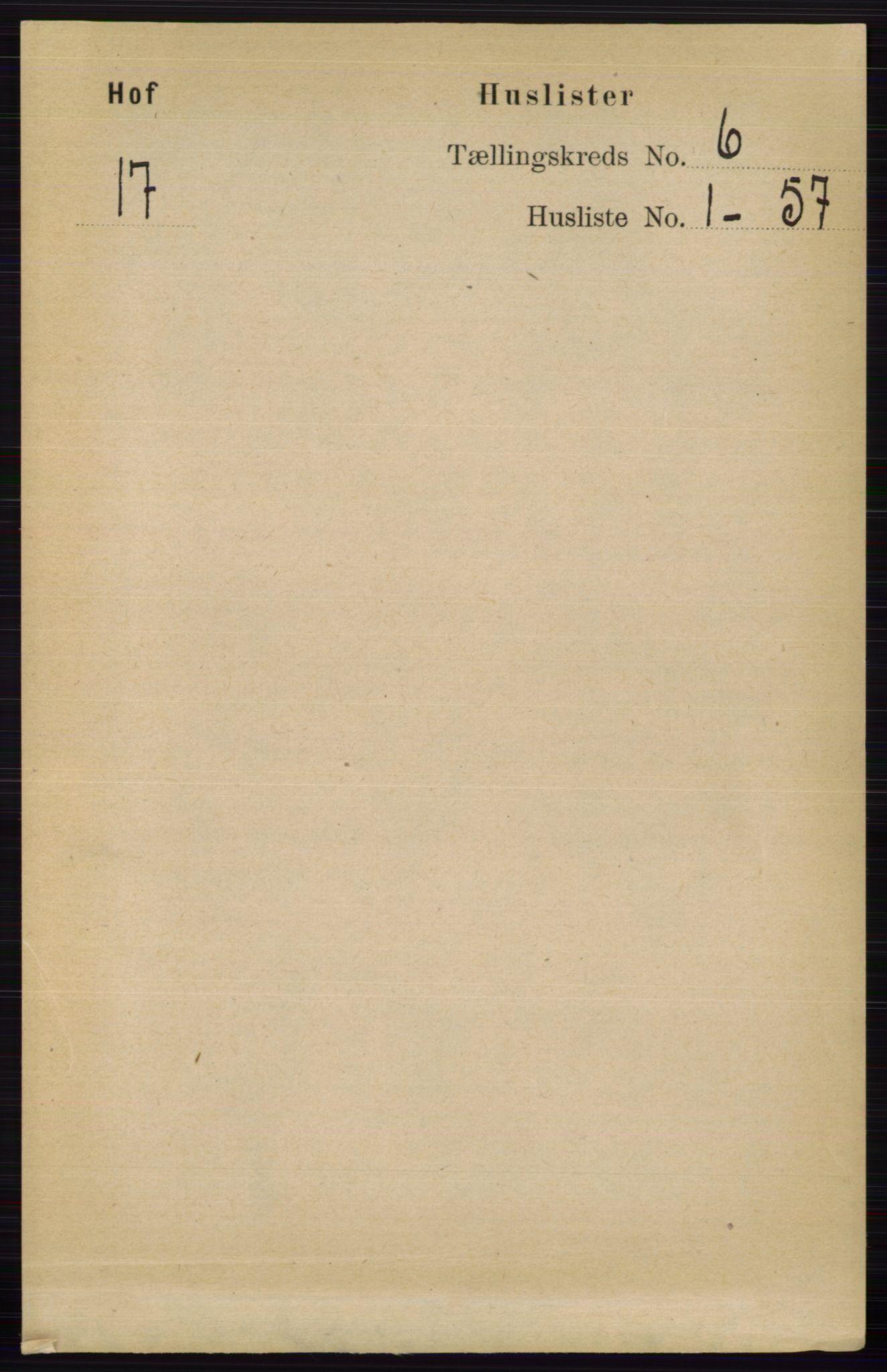 RA, Folketelling 1891 for 0424 Hof herred, 1891, s. 2189