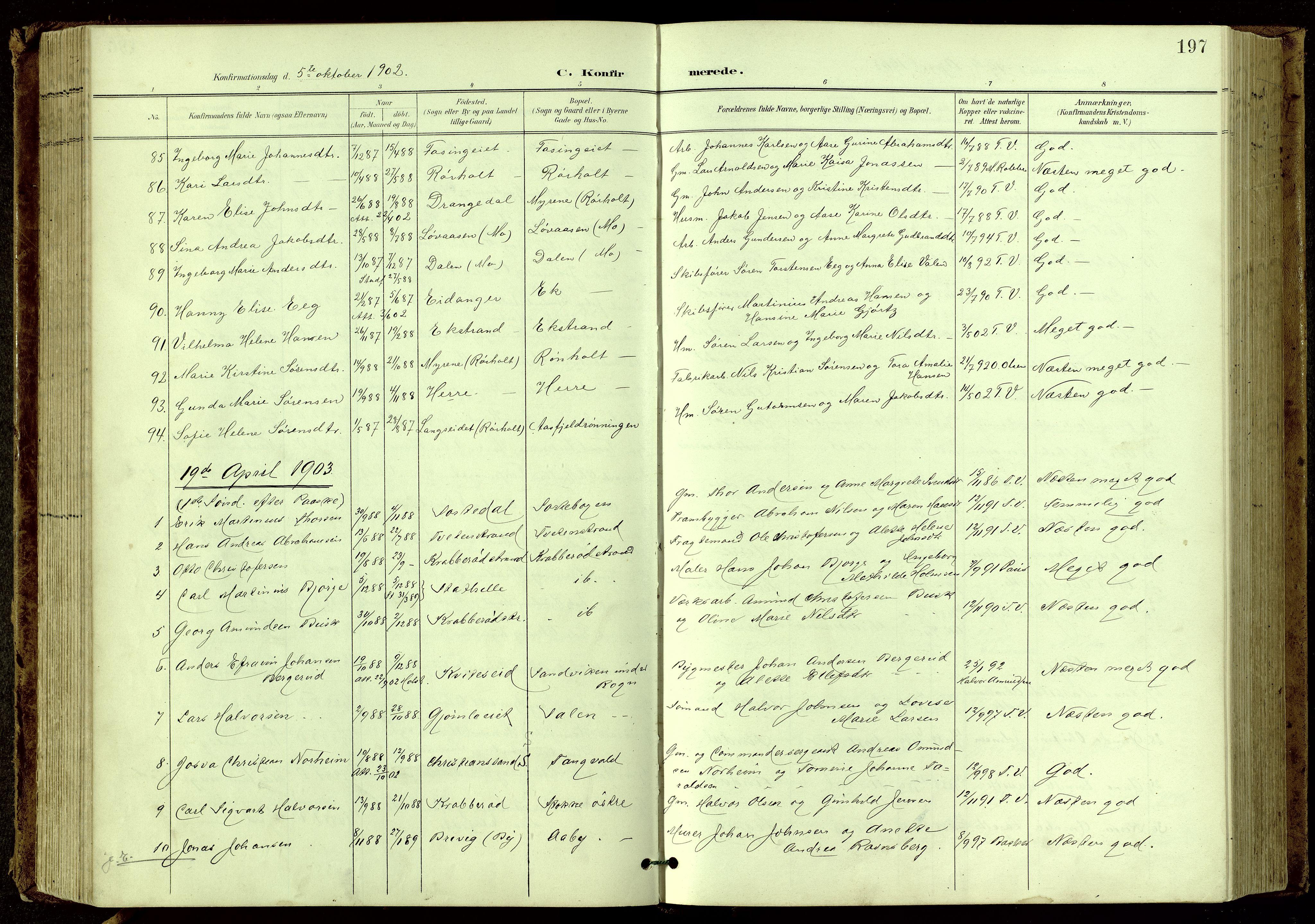 SAKO, Bamble kirkebøker, G/Ga/L0010: Klokkerbok nr. I 10, 1901-1919, s. 197
