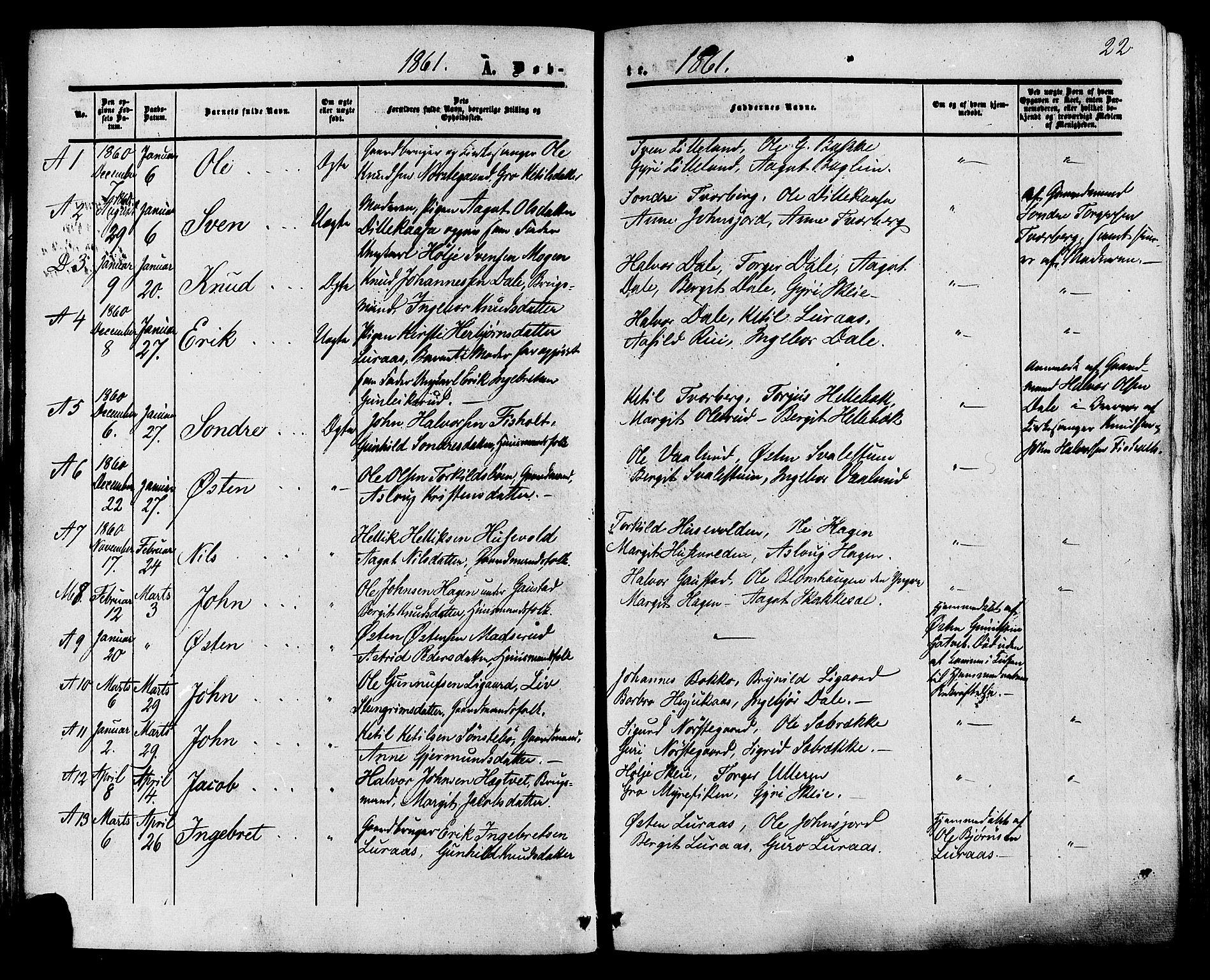 SAKO, Tinn kirkebøker, F/Fa/L0006: Ministerialbok nr. I 6, 1857-1878, s. 22