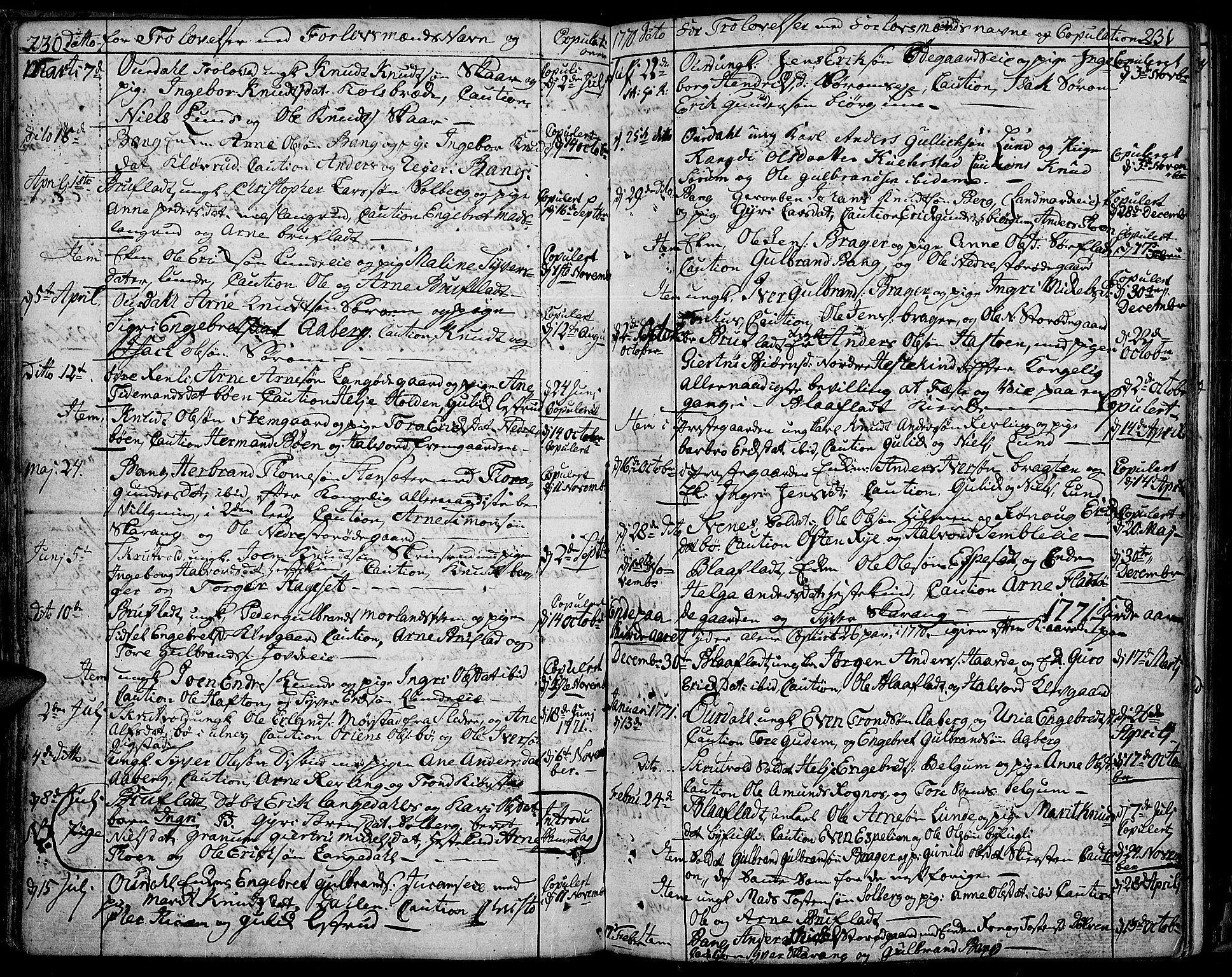 SAH, Aurdal prestekontor, Ministerialbok nr. 5, 1763-1781, s. 230-231