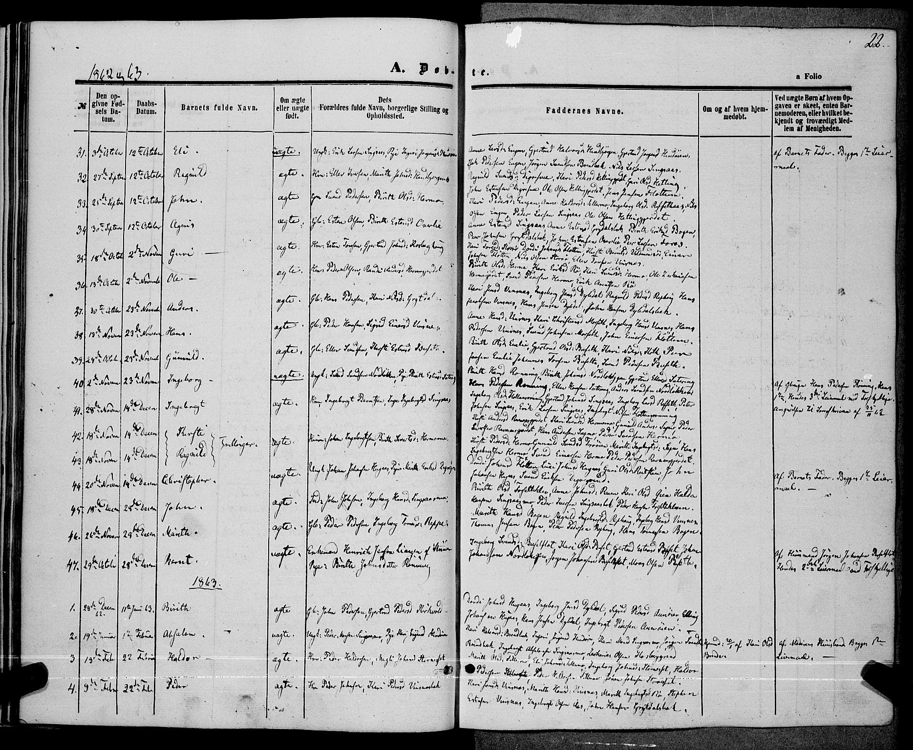 SAT, Ministerialprotokoller, klokkerbøker og fødselsregistre - Sør-Trøndelag, 685/L0967: Ministerialbok nr. 685A07 /2, 1860-1869, s. 22