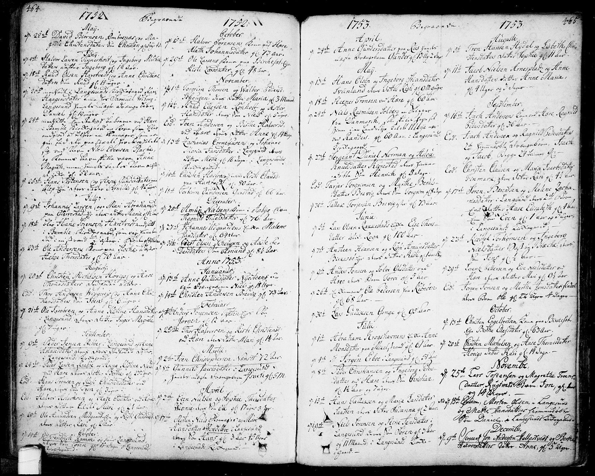 SAKO, Bamble kirkebøker, F/Fa/L0001: Ministerialbok nr. I 1, 1702-1774, s. 464-465