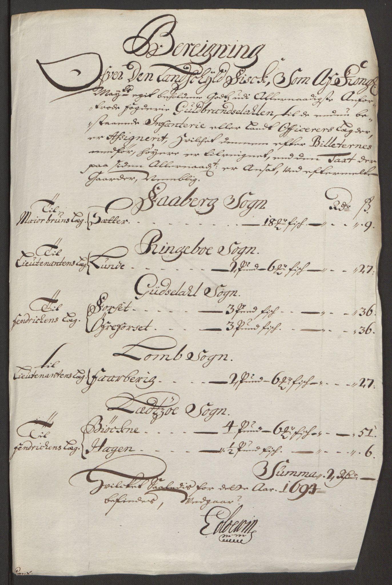 RA, Rentekammeret inntil 1814, Reviderte regnskaper, Fogderegnskap, R17/L1168: Fogderegnskap Gudbrandsdal, 1694, s. 305