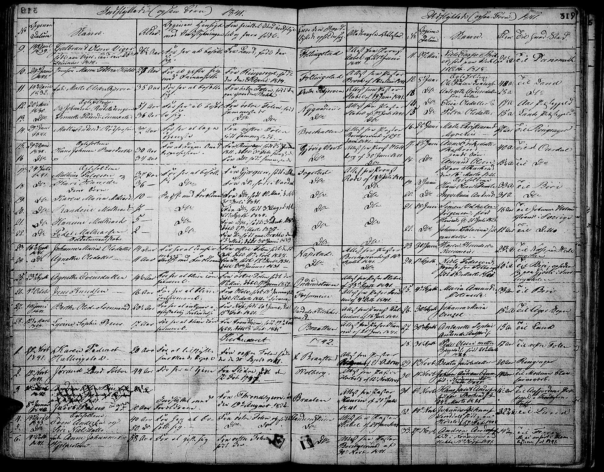 SAH, Vardal prestekontor, H/Ha/Hab/L0004: Klokkerbok nr. 4, 1831-1853, s. 319
