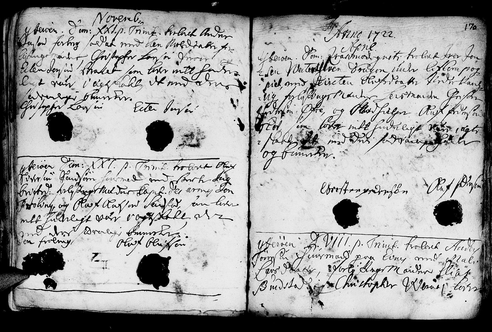 SAT, Ministerialprotokoller, klokkerbøker og fødselsregistre - Nord-Trøndelag, 722/L0215: Ministerialbok nr. 722A02, 1718-1755, s. 170