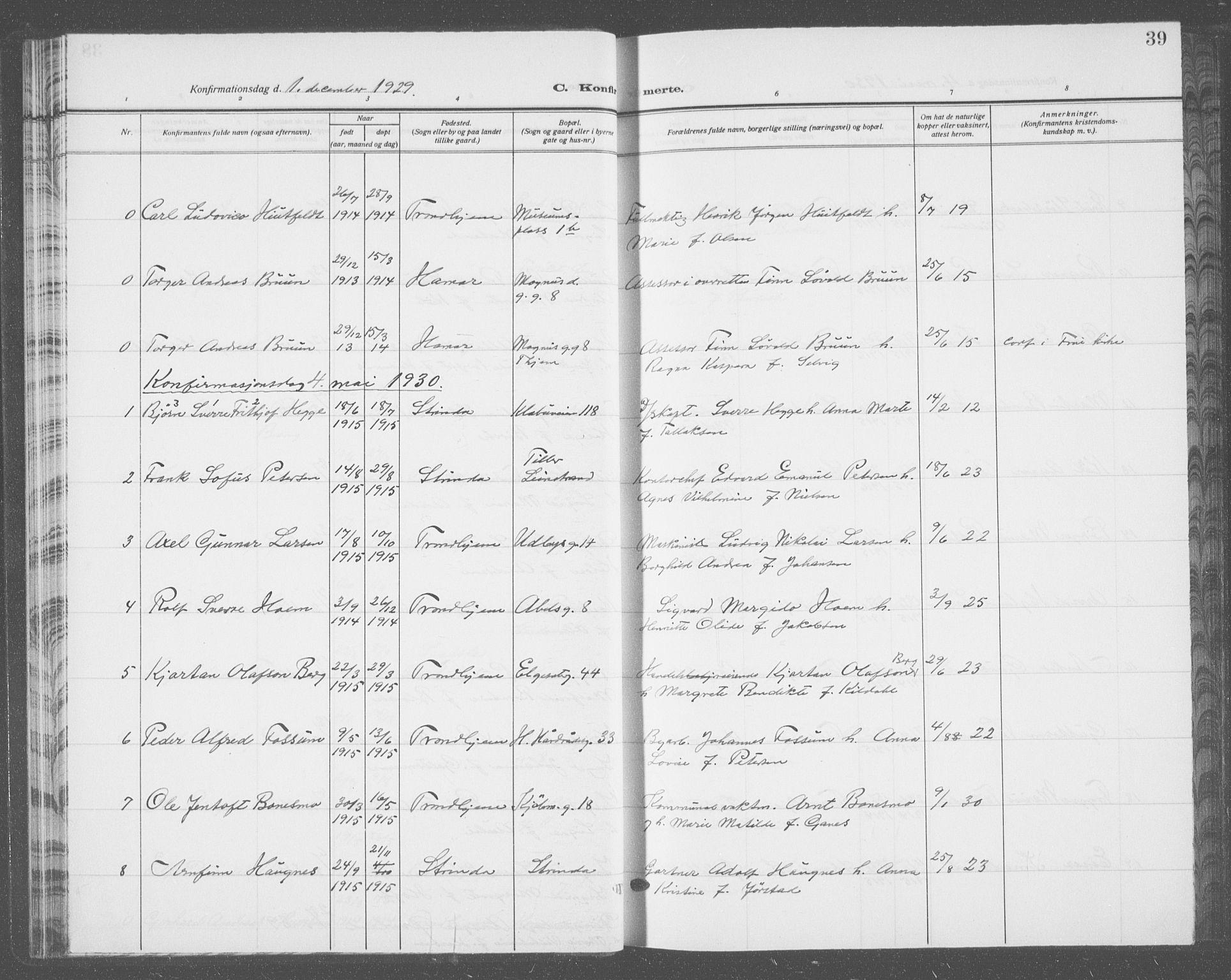 SAT, Ministerialprotokoller, klokkerbøker og fødselsregistre - Sør-Trøndelag, 601/L0099: Klokkerbok nr. 601C17, 1928-1941, s. 39