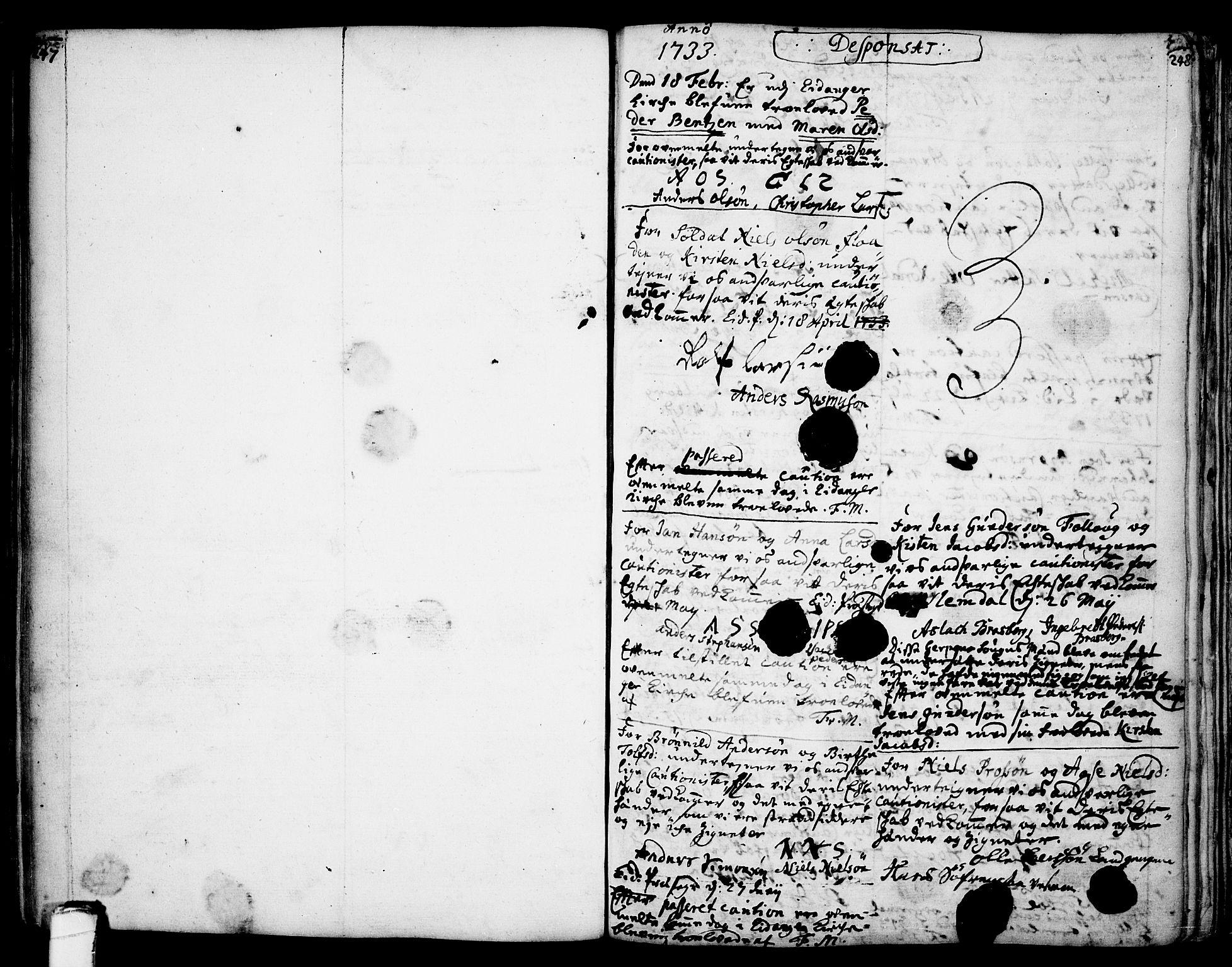 SAKO, Eidanger kirkebøker, F/Fa/L0004: Ministerialbok nr. 4, 1733-1759, s. 247-248