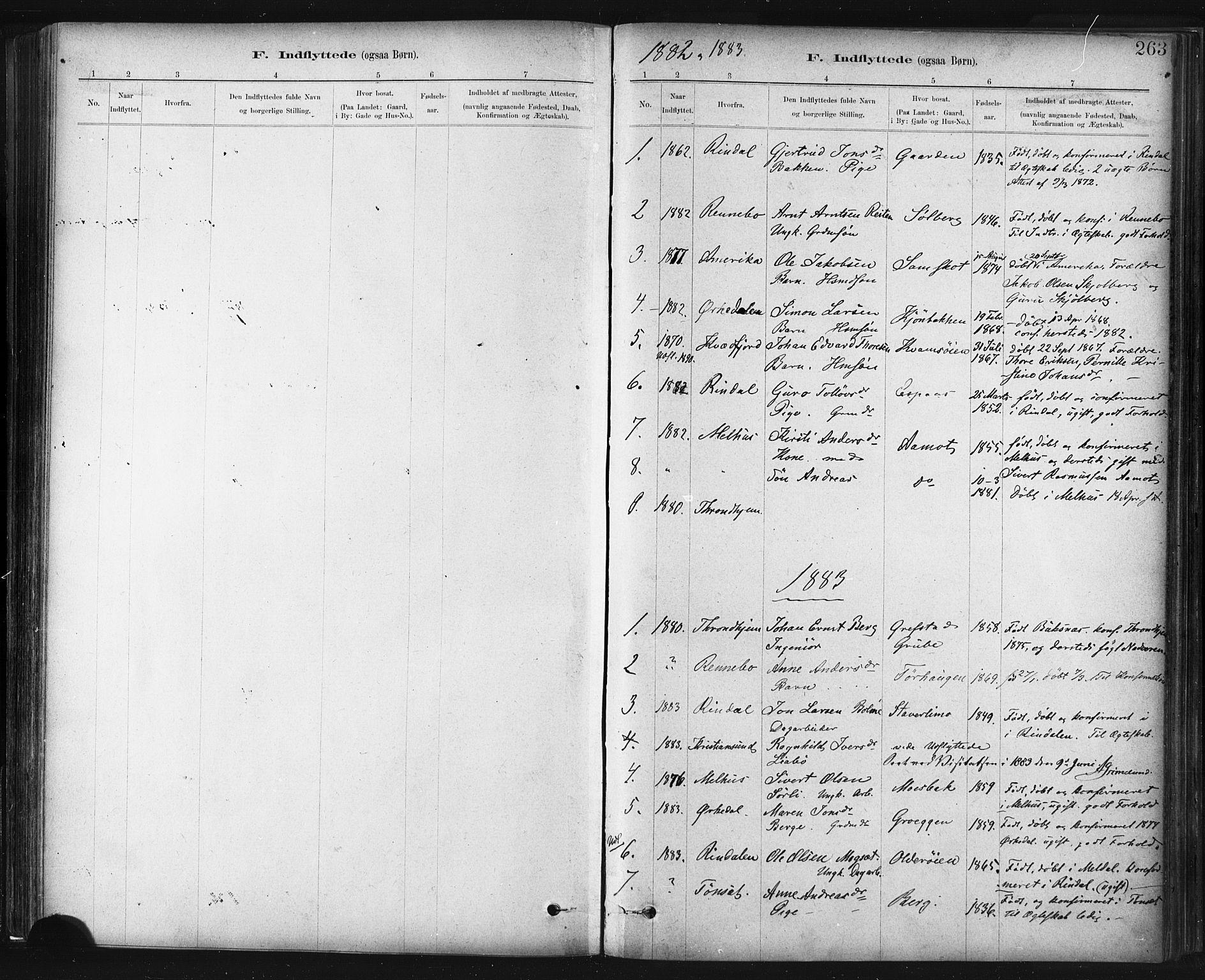 SAT, Ministerialprotokoller, klokkerbøker og fødselsregistre - Sør-Trøndelag, 672/L0857: Ministerialbok nr. 672A09, 1882-1893, s. 263