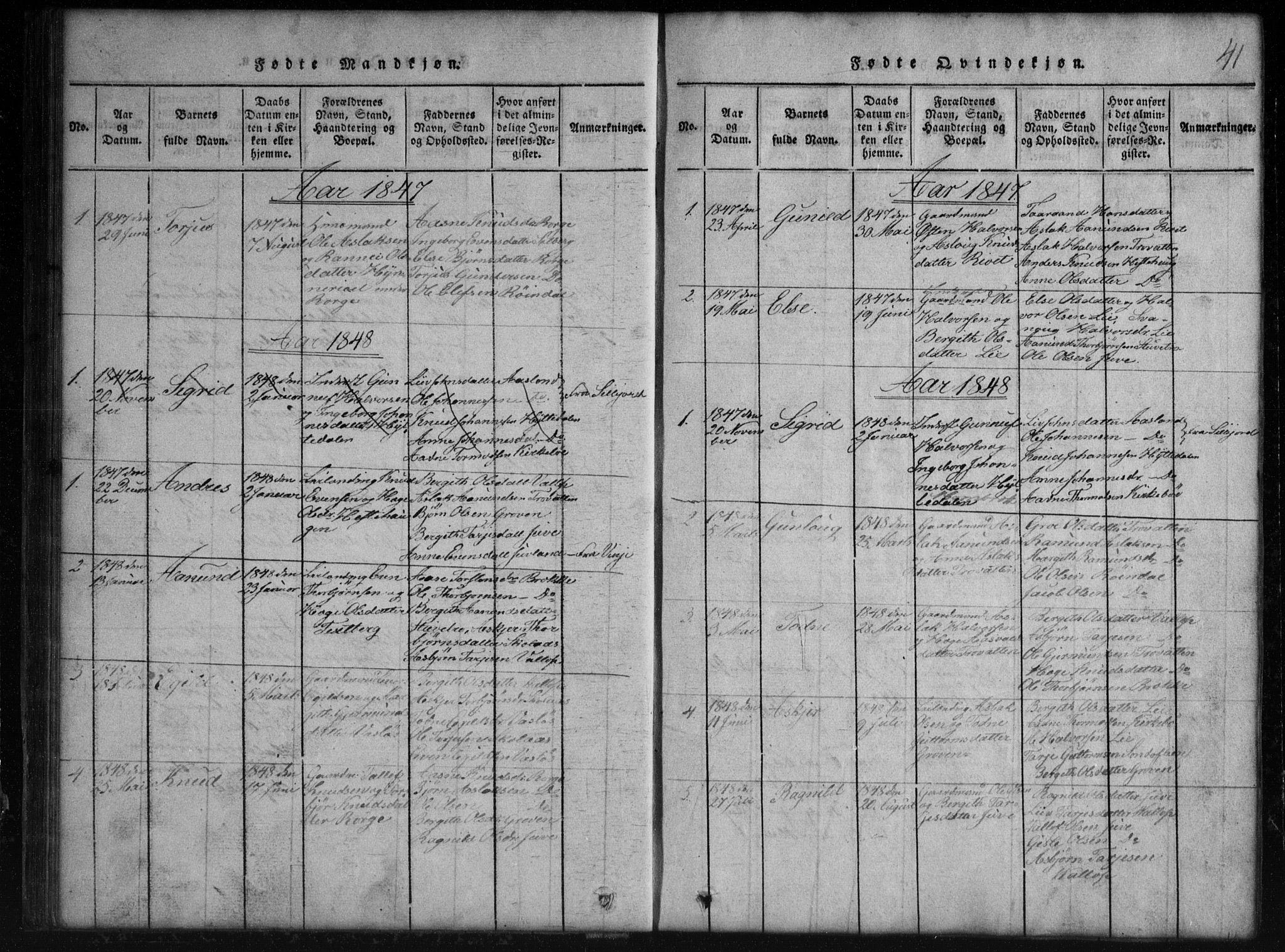 SAKO, Rauland kirkebøker, G/Gb/L0001: Klokkerbok nr. II 1, 1815-1886, s. 41