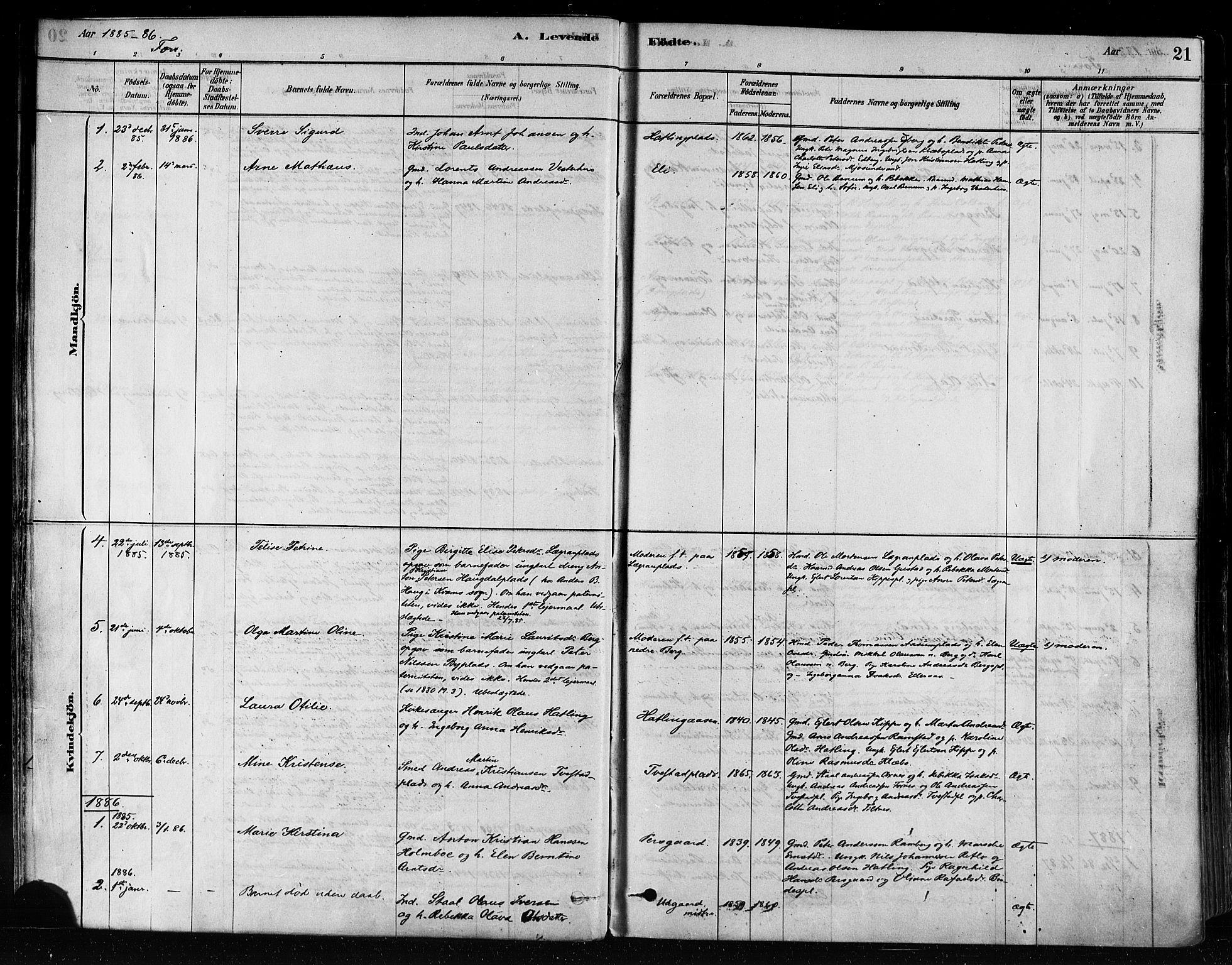 SAT, Ministerialprotokoller, klokkerbøker og fødselsregistre - Nord-Trøndelag, 746/L0448: Ministerialbok nr. 746A07 /1, 1878-1900, s. 21