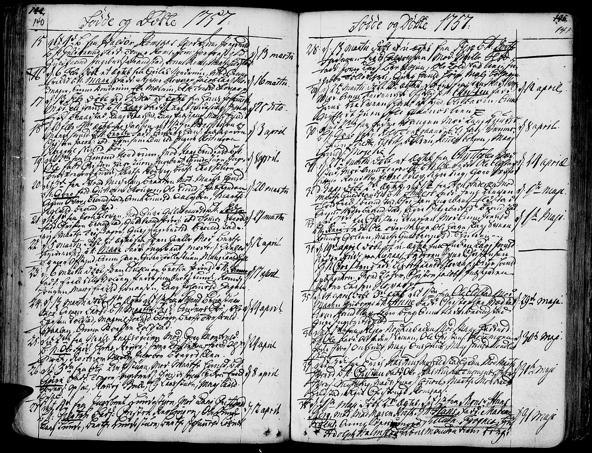 SAH, Ringebu prestekontor, Ministerialbok nr. 2, 1734-1780, s. 140-141