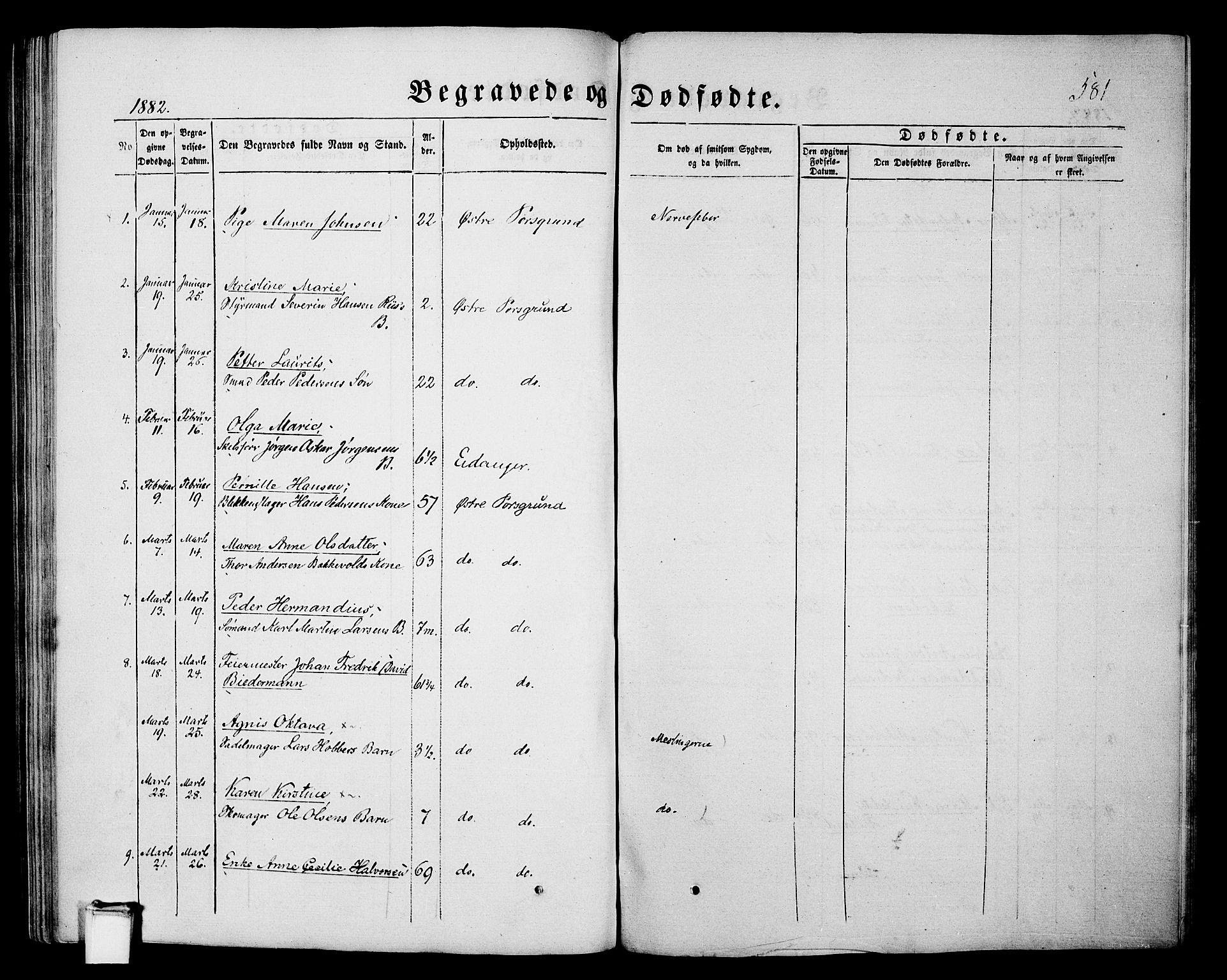SAKO, Porsgrunn kirkebøker , G/Gb/L0004: Klokkerbok nr. II 4, 1853-1882, s. 581