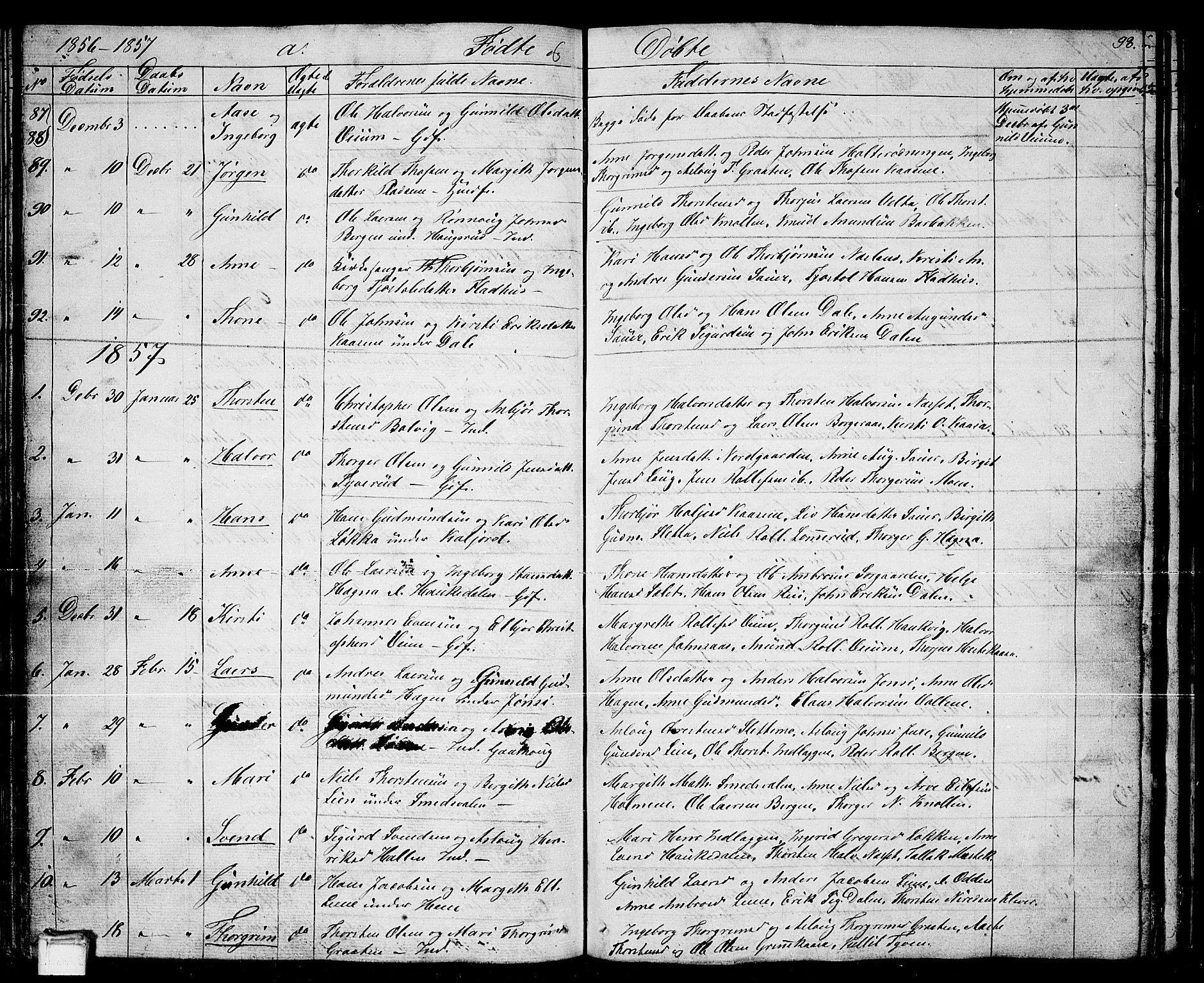 SAKO, Sauherad kirkebøker, G/Ga/L0002: Klokkerbok nr. I 2, 1842-1866, s. 93