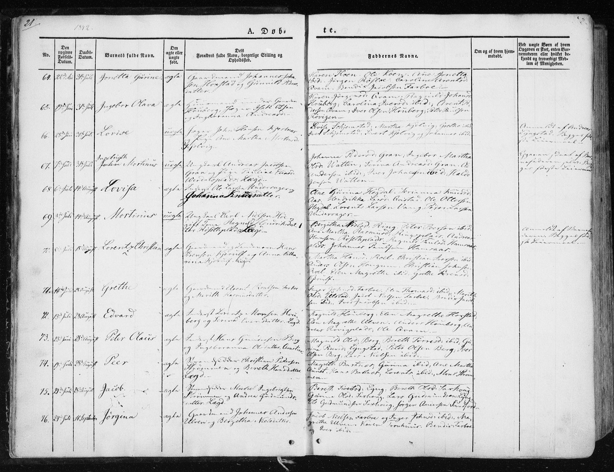 SAT, Ministerialprotokoller, klokkerbøker og fødselsregistre - Nord-Trøndelag, 730/L0280: Ministerialbok nr. 730A07 /1, 1840-1854, s. 21