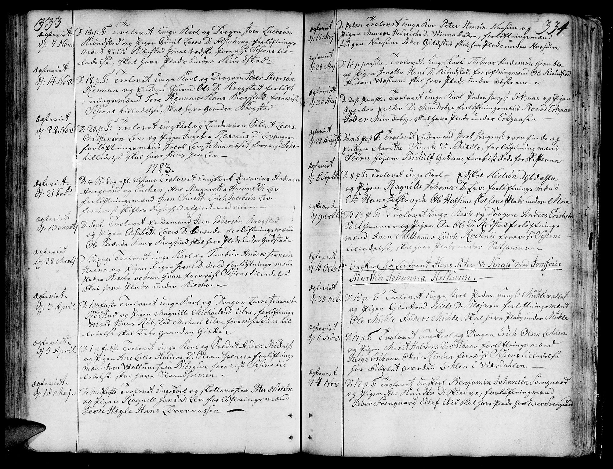 SAT, Ministerialprotokoller, klokkerbøker og fødselsregistre - Nord-Trøndelag, 717/L0141: Ministerialbok nr. 717A01, 1747-1803, s. 333-334