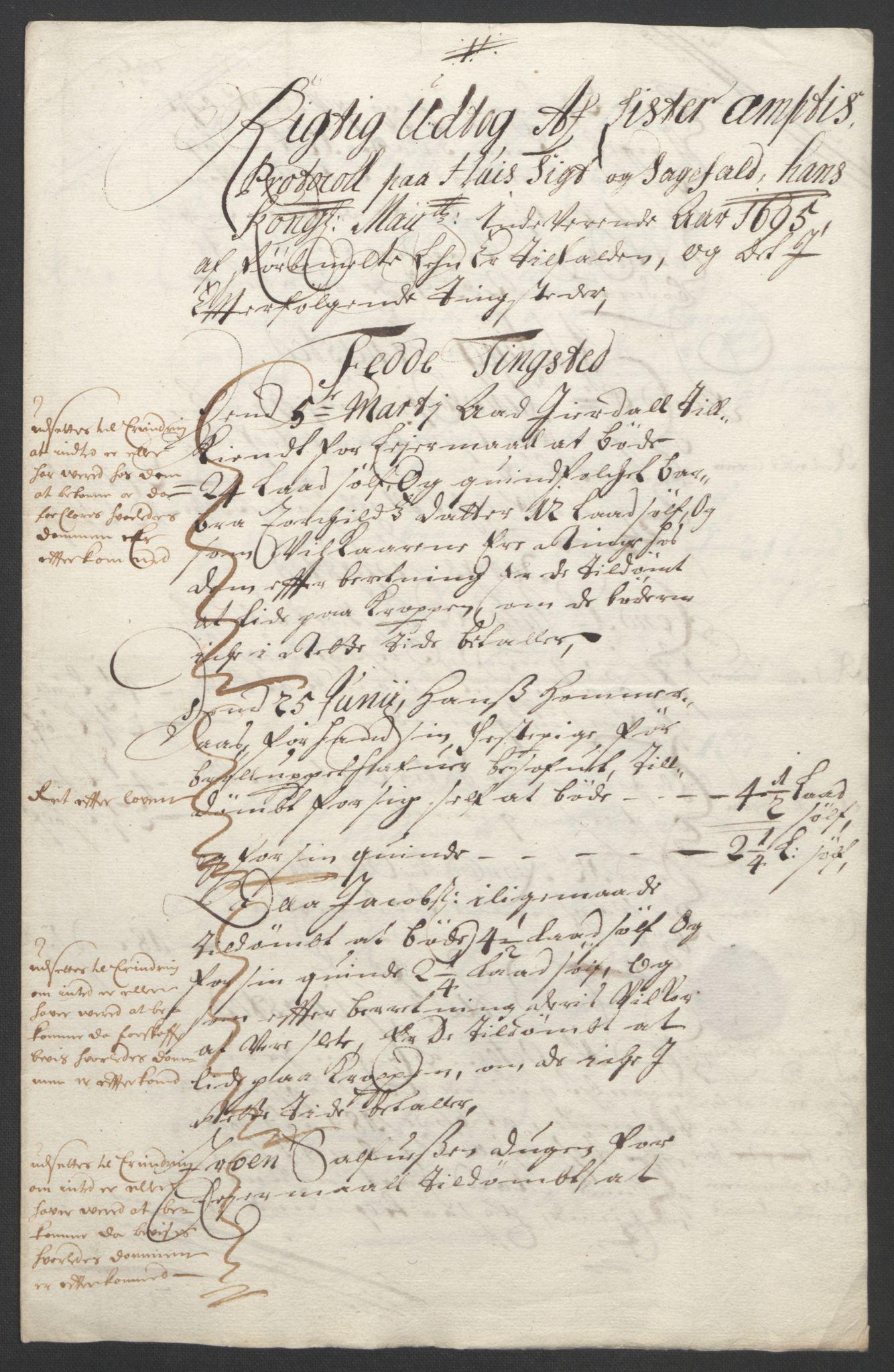 RA, Rentekammeret inntil 1814, Reviderte regnskaper, Fogderegnskap, R43/L2545: Fogderegnskap Lista og Mandal, 1694-1695, s. 222