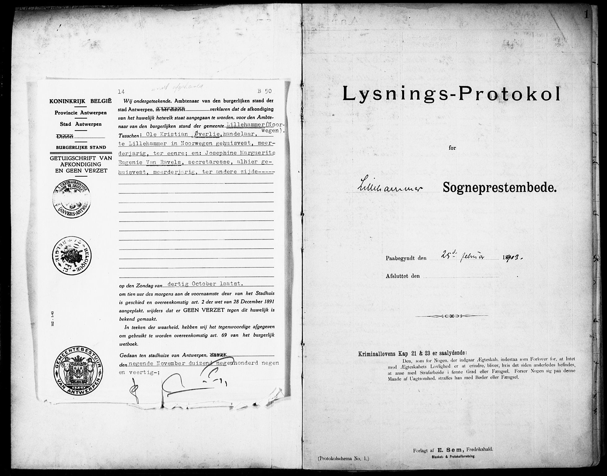 SAH, Lillehammer prestekontor, Lysningsprotokoll nr. 1, 1903-1932, s. 1