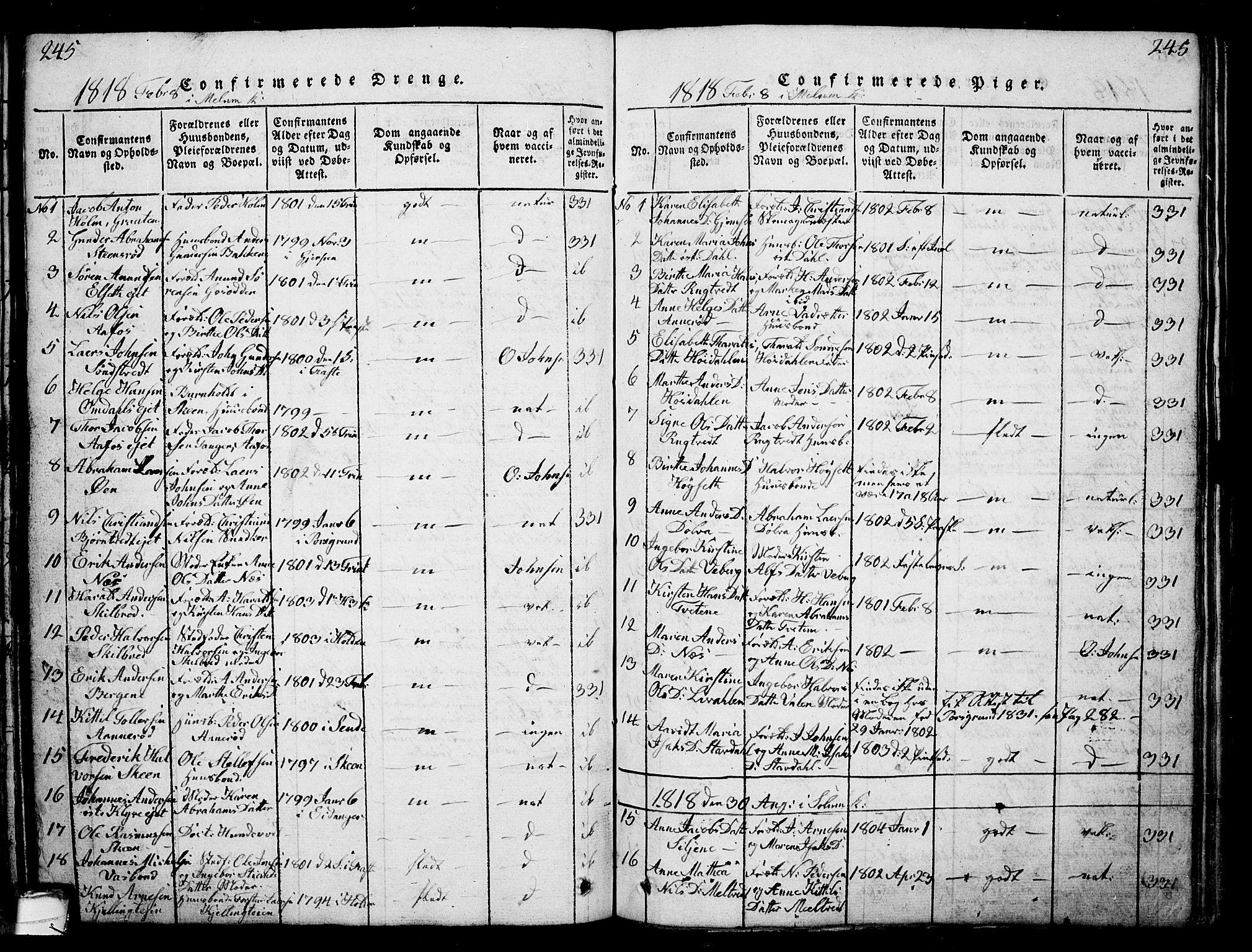 SAKO, Solum kirkebøker, G/Ga/L0001: Klokkerbok nr. I 1, 1814-1833, s. 245