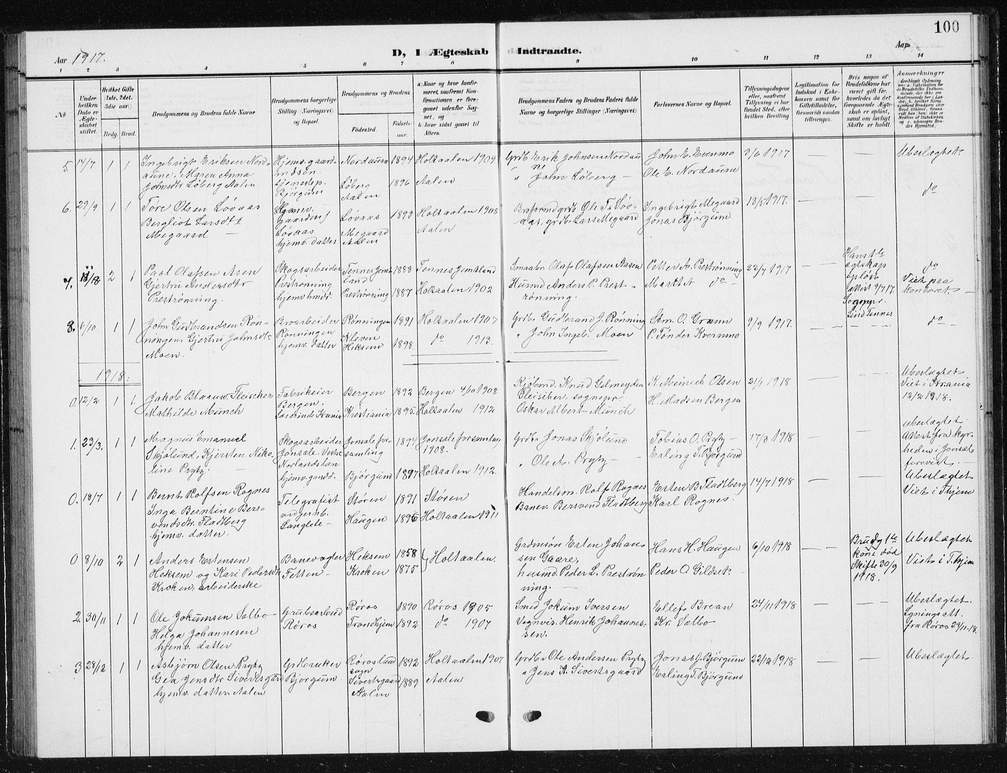 SAT, Ministerialprotokoller, klokkerbøker og fødselsregistre - Sør-Trøndelag, 685/L0979: Klokkerbok nr. 685C04, 1908-1933, s. 100
