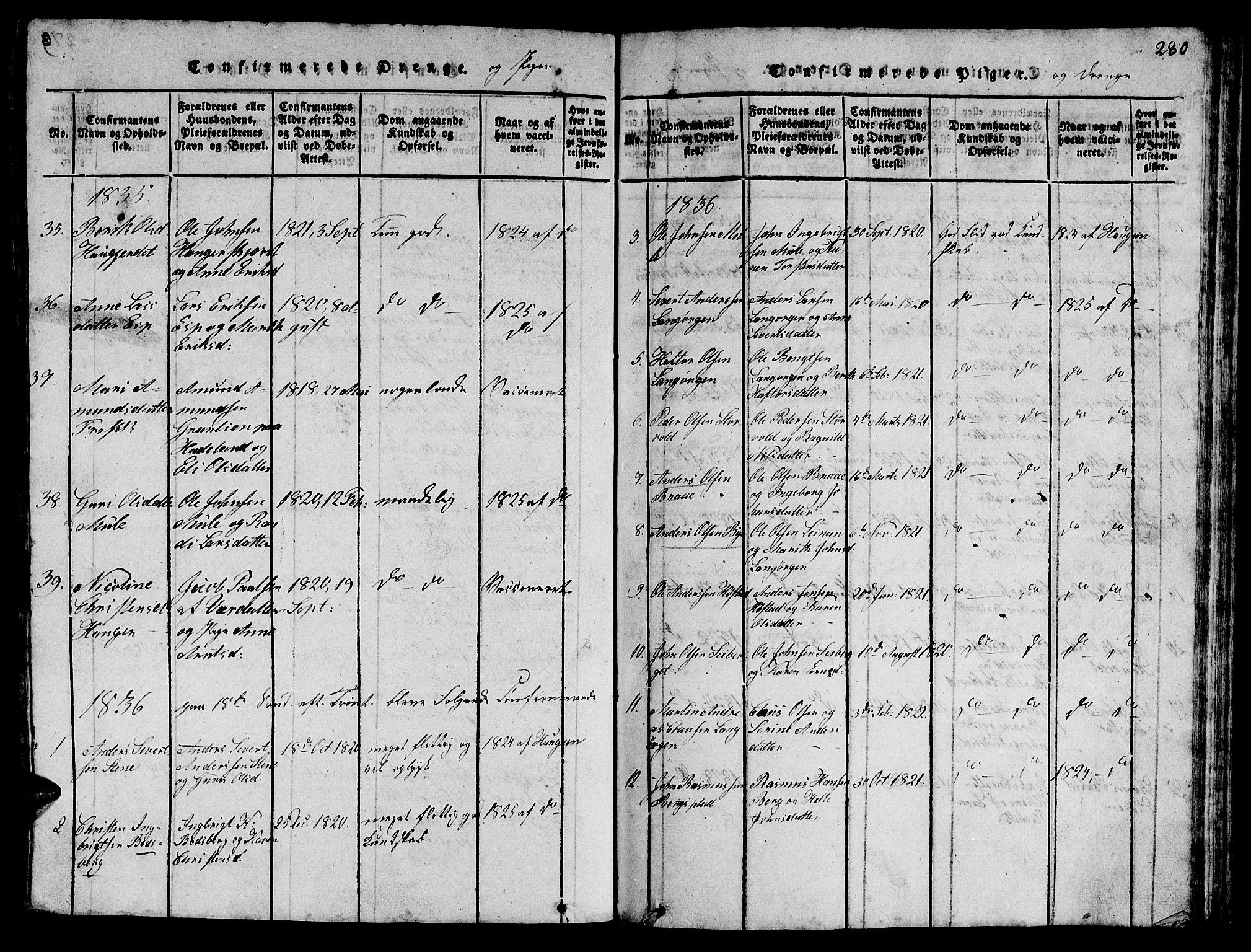 SAT, Ministerialprotokoller, klokkerbøker og fødselsregistre - Sør-Trøndelag, 612/L0385: Klokkerbok nr. 612C01, 1816-1845, s. 280