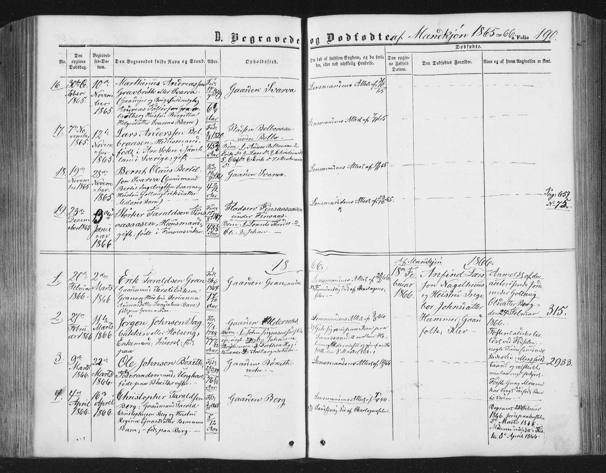 SAT, Ministerialprotokoller, klokkerbøker og fødselsregistre - Nord-Trøndelag, 749/L0472: Ministerialbok nr. 749A06, 1857-1873, s. 190