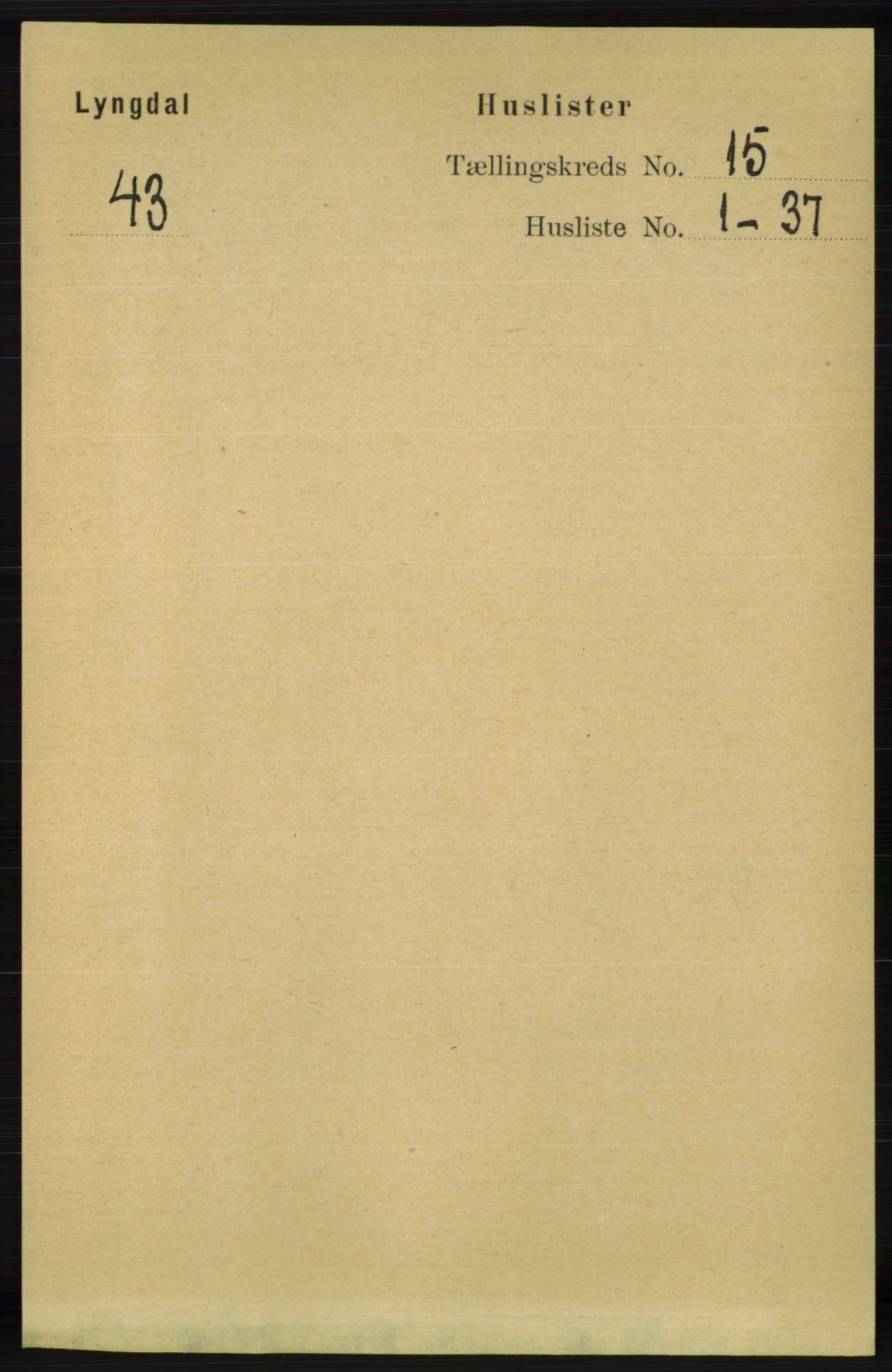 RA, Folketelling 1891 for 1032 Lyngdal herred, 1891, s. 6020
