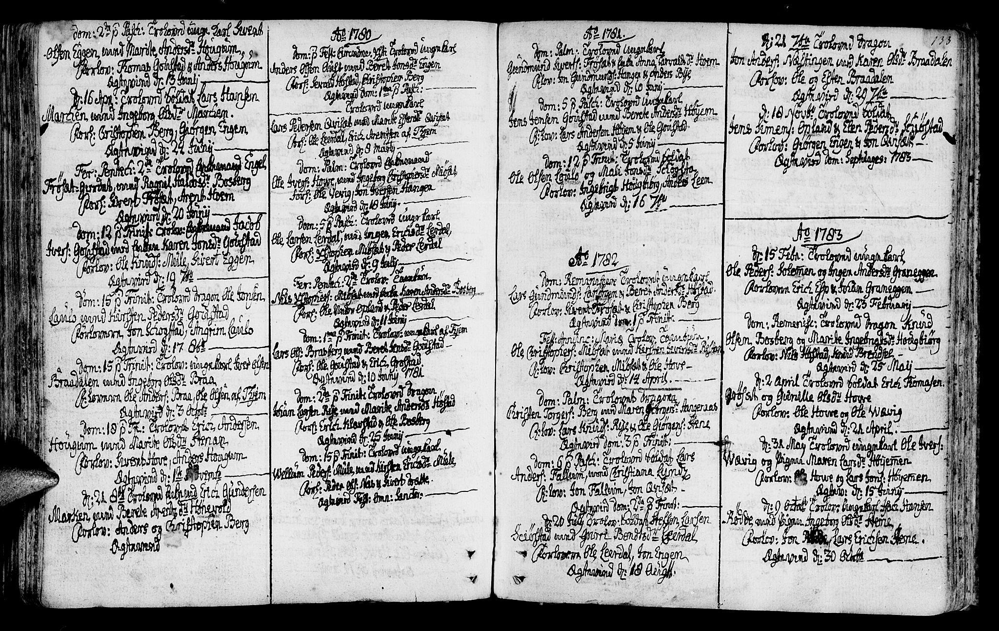 SAT, Ministerialprotokoller, klokkerbøker og fødselsregistre - Sør-Trøndelag, 612/L0370: Ministerialbok nr. 612A04, 1754-1802, s. 133