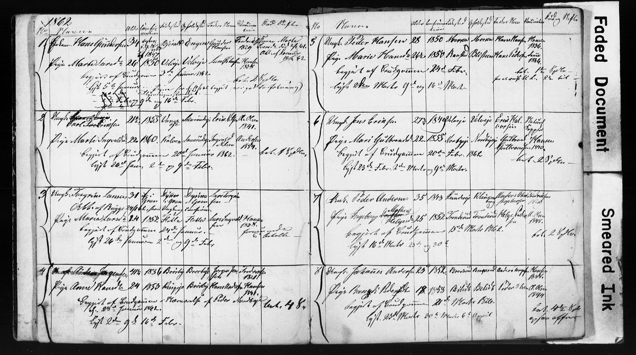 SAH, Jevnaker prestekontor, Lysningsprotokoll nr. 1, 1861-1867