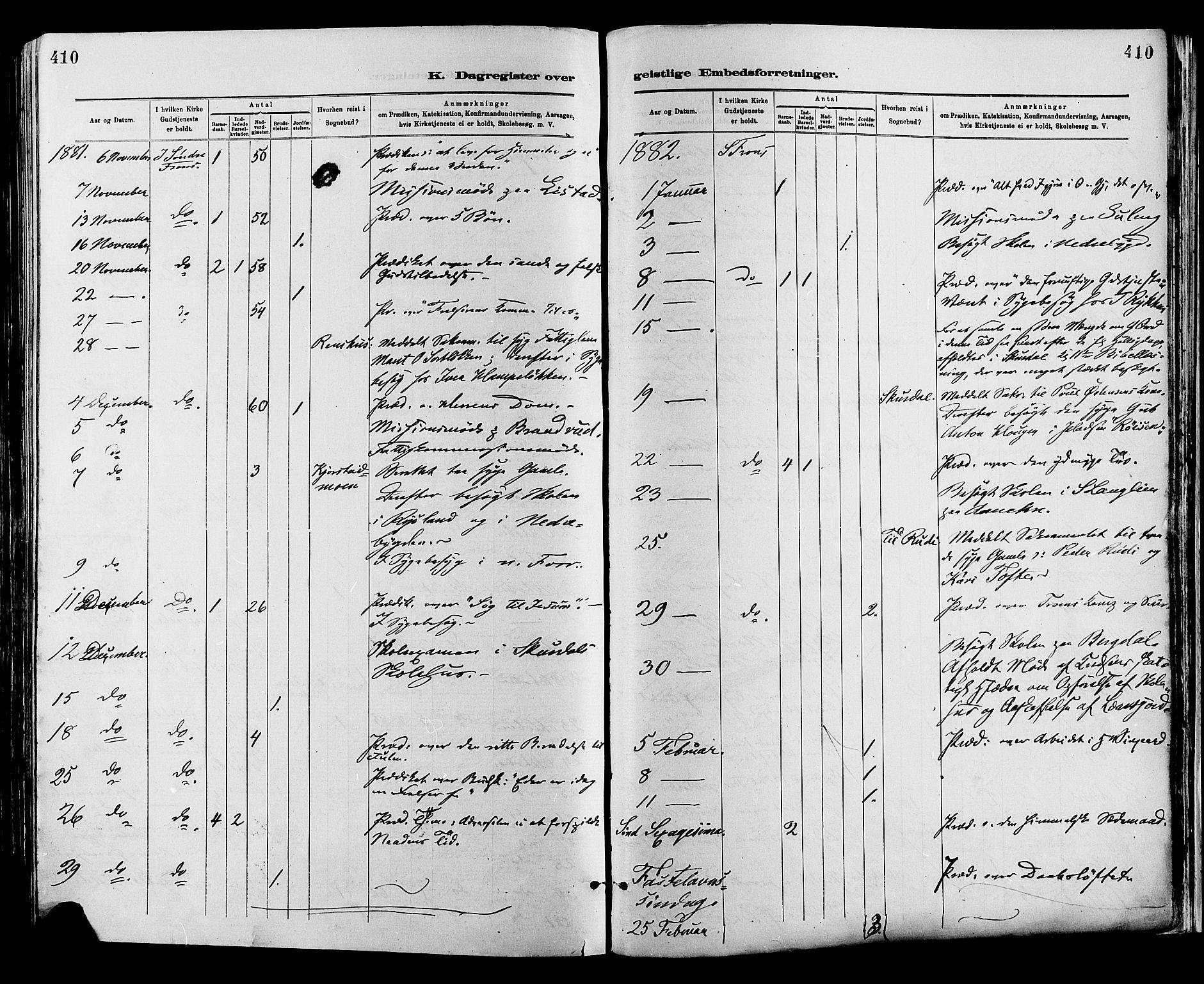 SAH, Sør-Fron prestekontor, H/Ha/Haa/L0003: Ministerialbok nr. 3, 1881-1897, s. 410