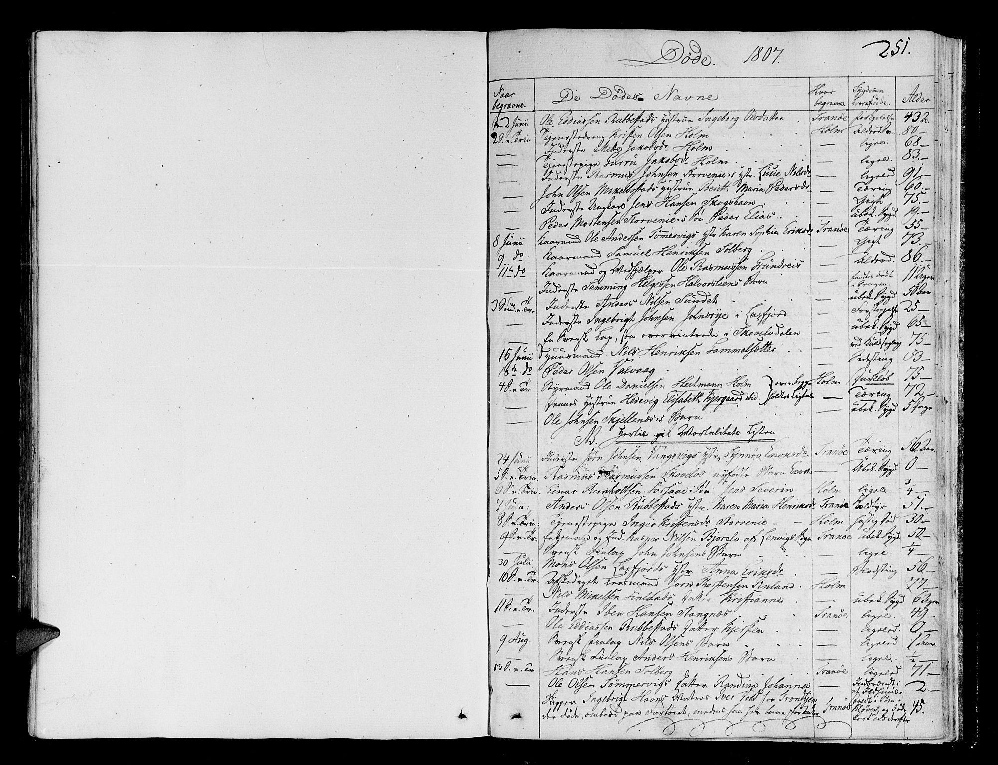 SATØ, Tranøy sokneprestkontor, I/Ia/Iaa/L0003kirke: Ministerialbok nr. 3, 1807-1820, s. 251