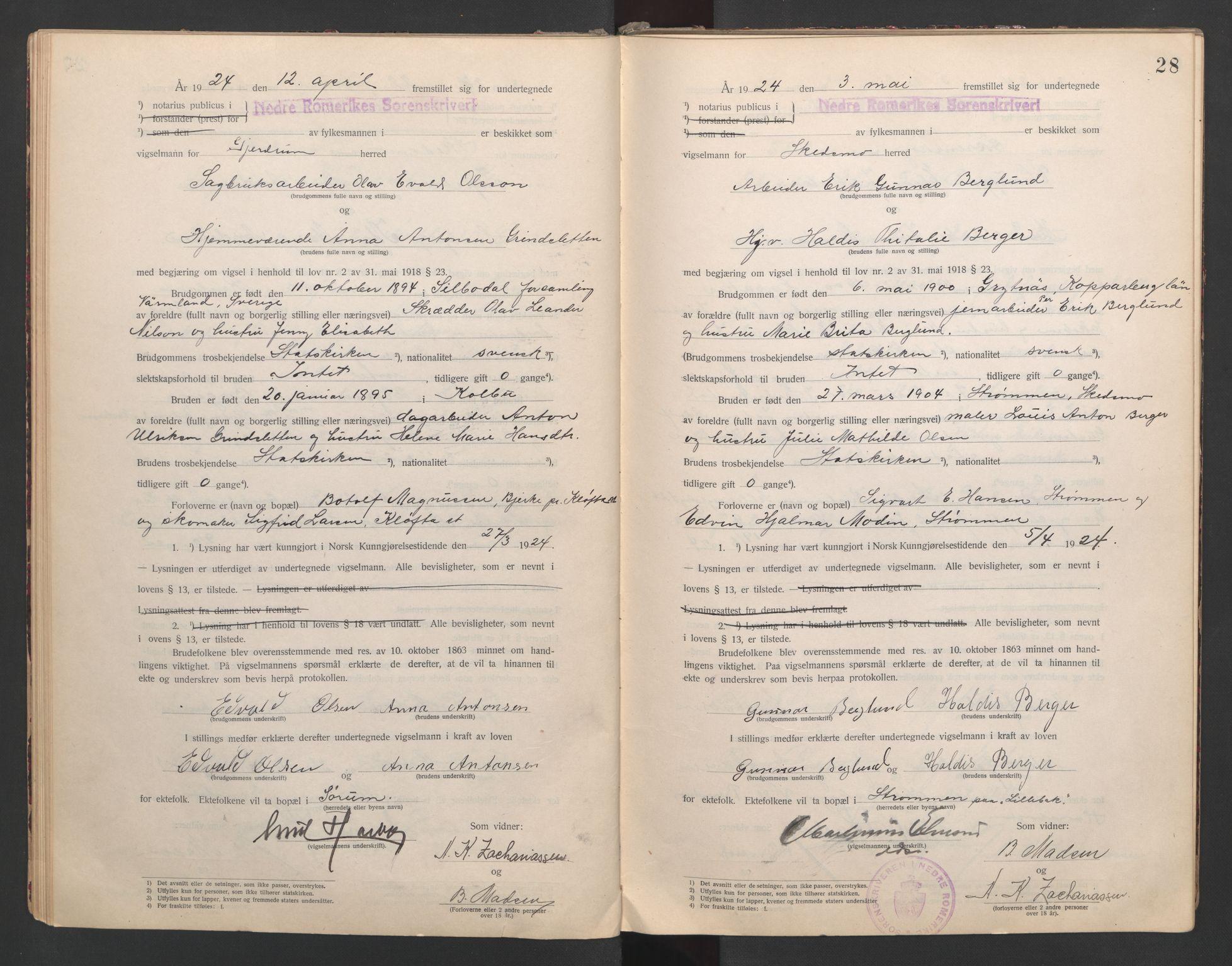 SAO, Nedre Romerike sorenskriveri, L/Lb/L0001: Vigselsbok - borgerlige vielser, 1920-1935, s. 28