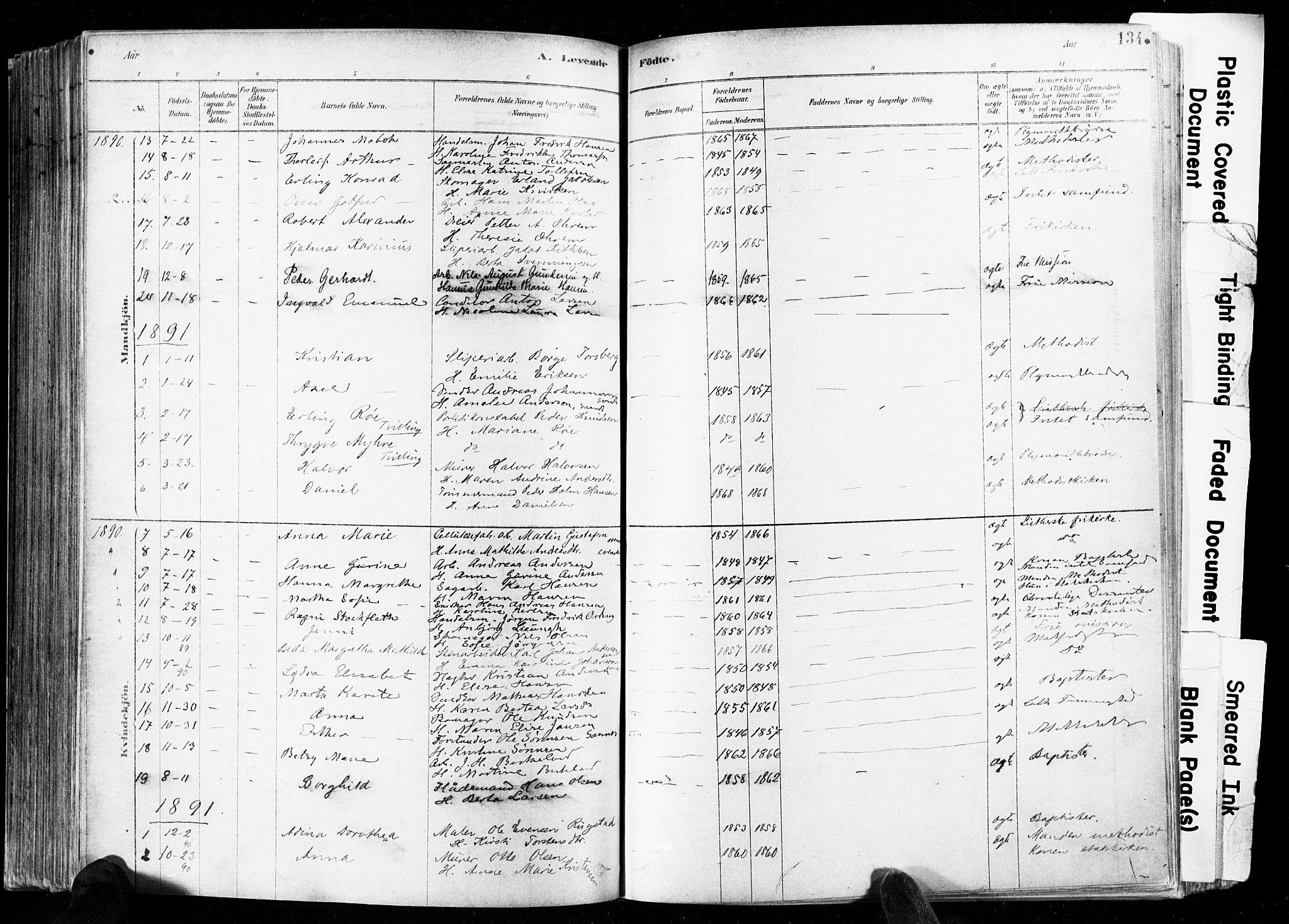 SAKO, Skien kirkebøker, F/Fa/L0009: Ministerialbok nr. 9, 1878-1890, s. 134